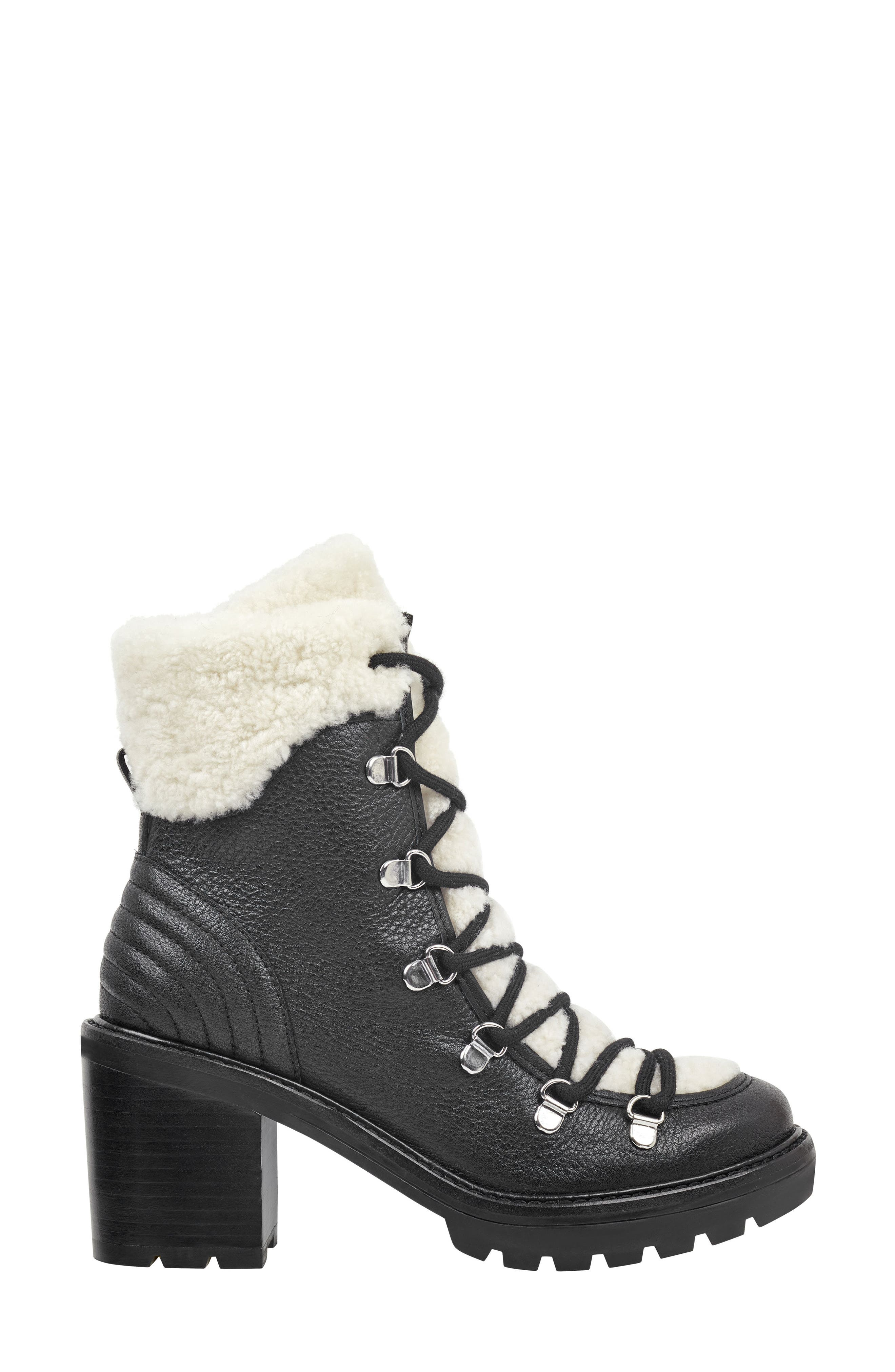 MARC FISHER LTD,                             Daven Genuine Shearling Lace Up Boot,                             Alternate thumbnail 3, color,                             BLACK LEATHER