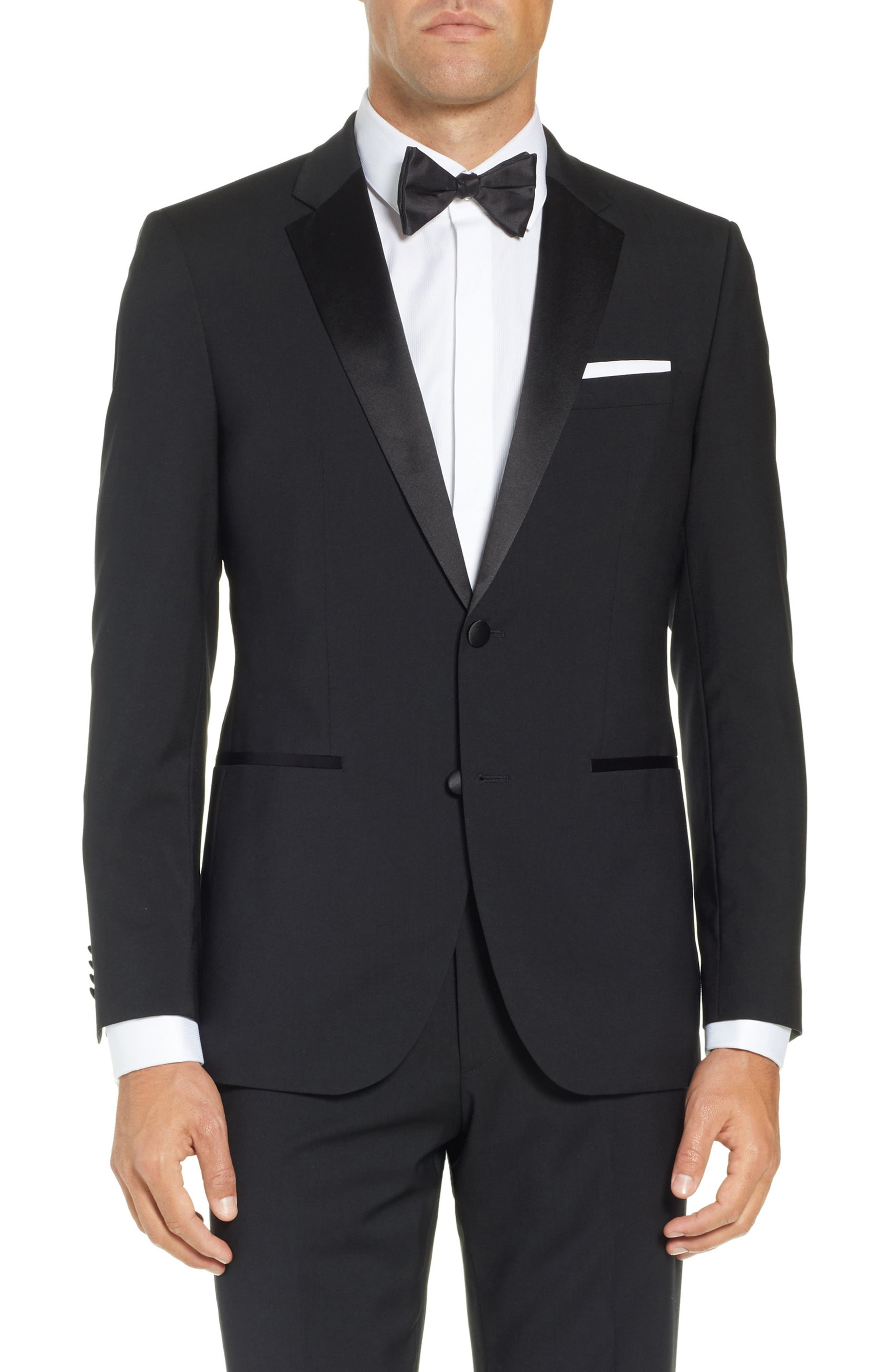 BOSS,                             The Stars/Glamour Trim Fit Wool Tuxedo,                             Alternate thumbnail 5, color,                             001