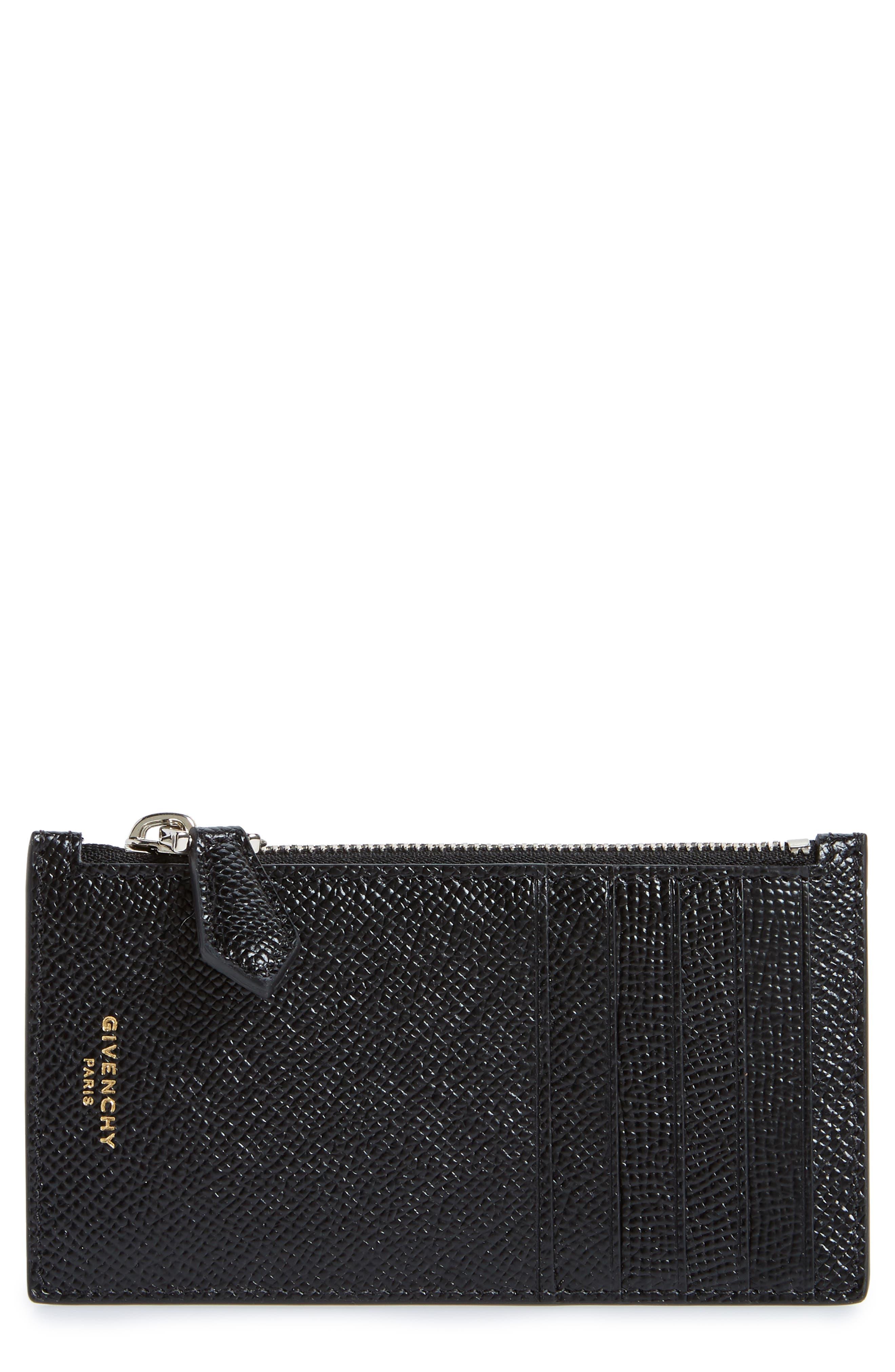 Aros Zip Leather Wallet,                             Main thumbnail 1, color,                             BLACK