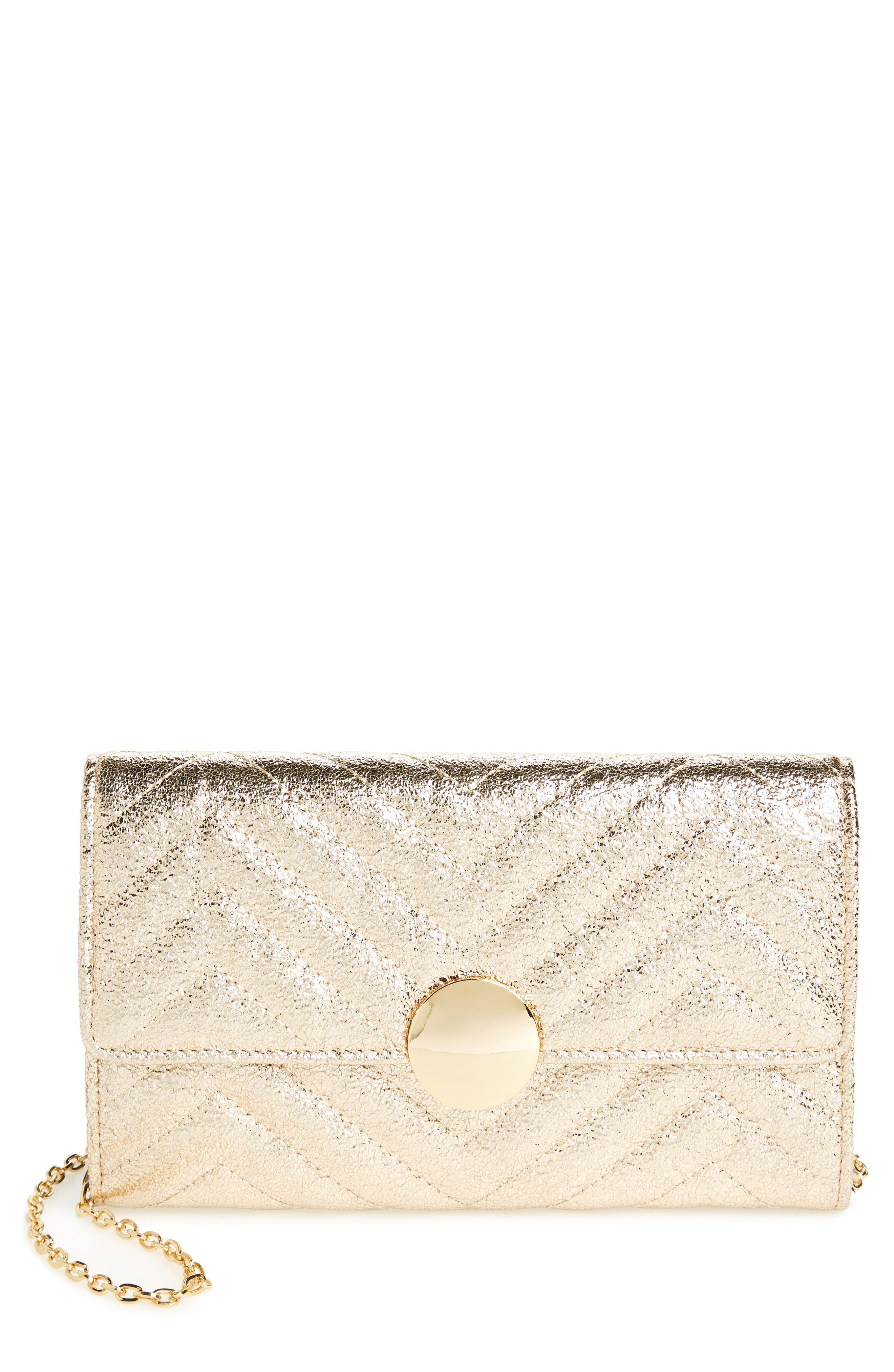 Quilted Faux Leather Wallet on a Chain,                             Main thumbnail 3, color,