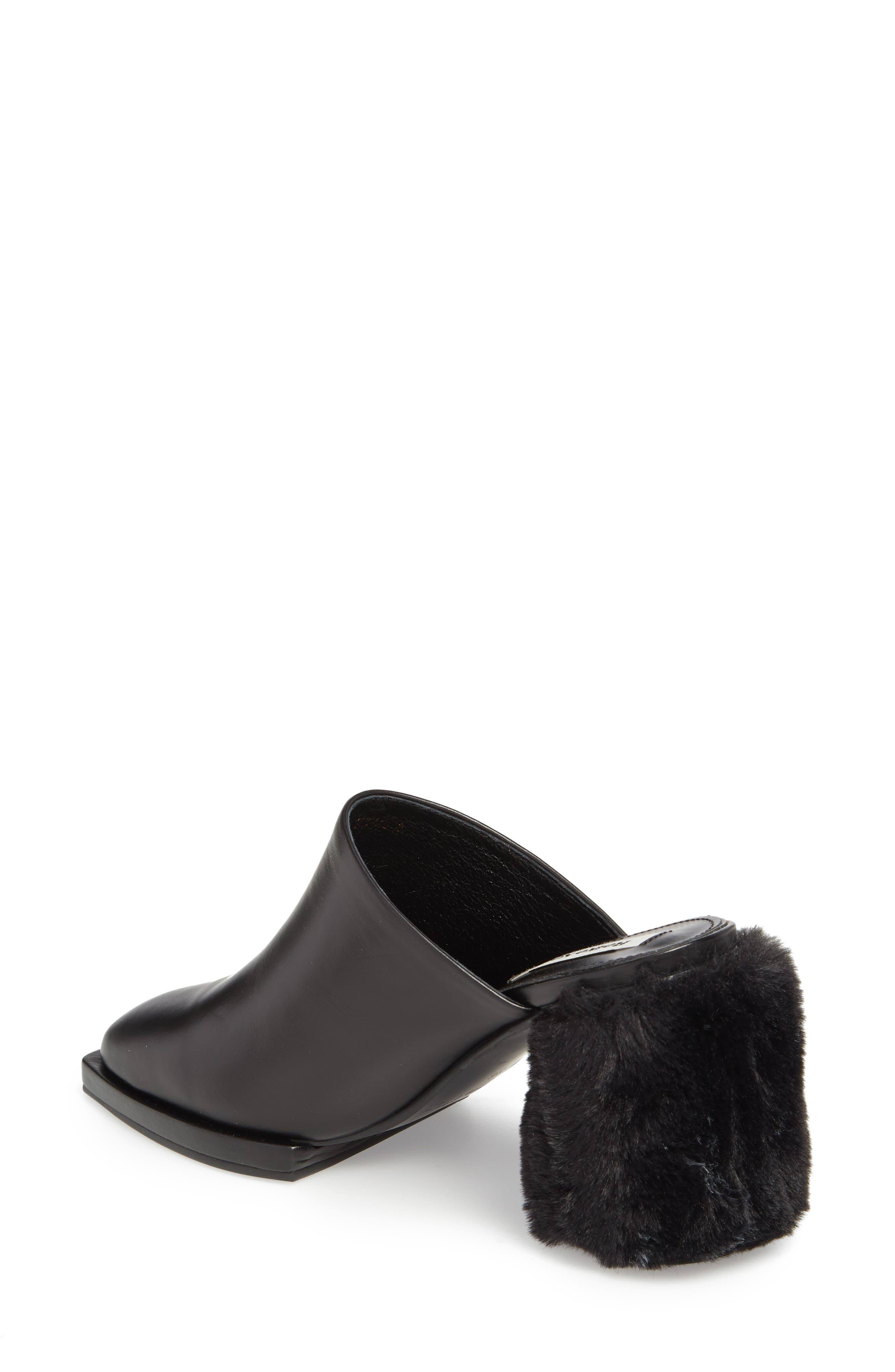 Faux Fur Block Heel Mule,                             Alternate thumbnail 2, color,                             BLACK