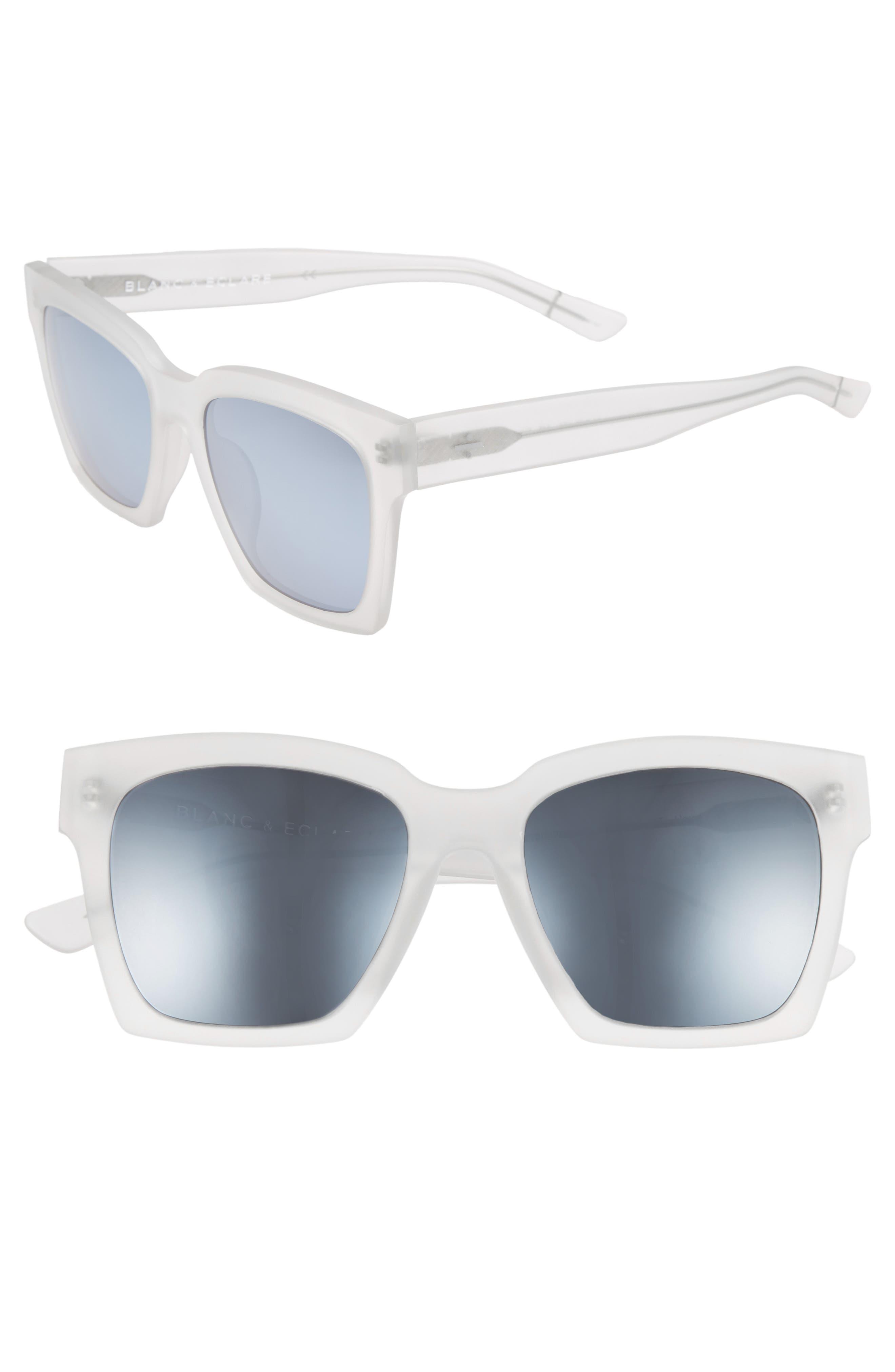 BLANC & ECLARE New York 54mm Polarized Sunglasses,                         Main,                         color, MATTE/ SILVER MIRROR