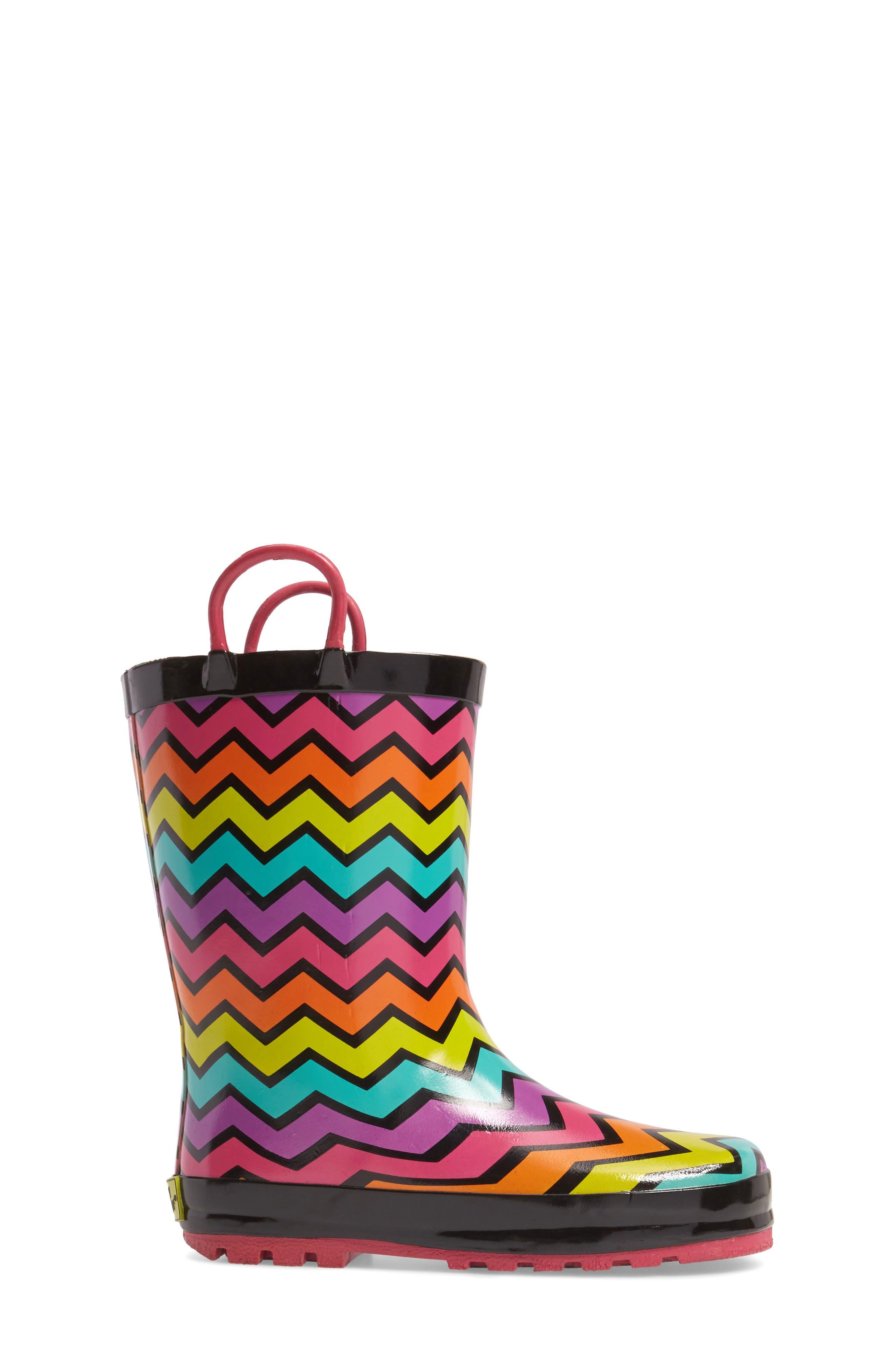 Funny Stripe Rain Boot,                             Alternate thumbnail 3, color,                             001