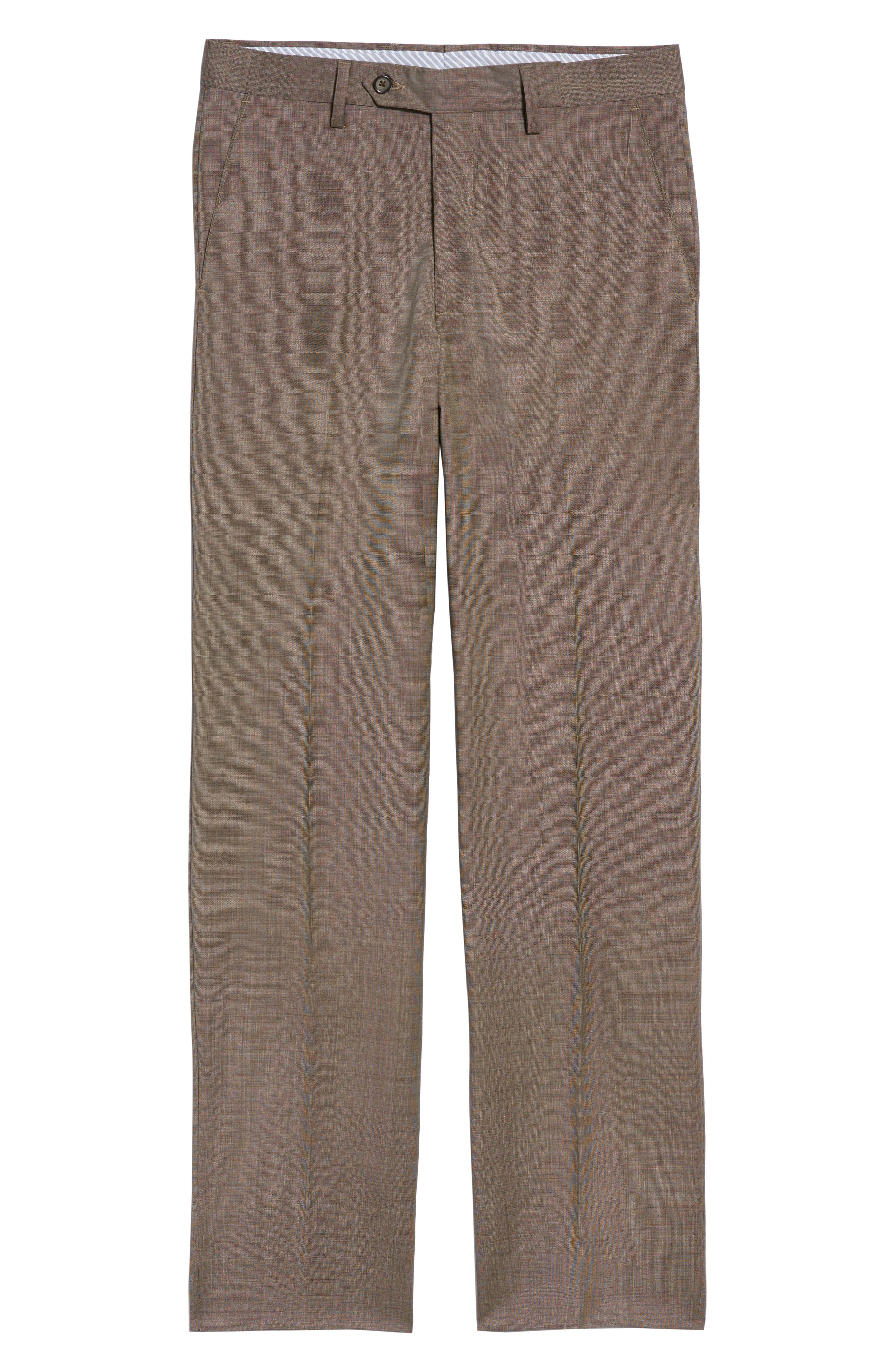 Manufacturing Flat Front Wool Trousers,                             Alternate thumbnail 6, color,                             BROWN