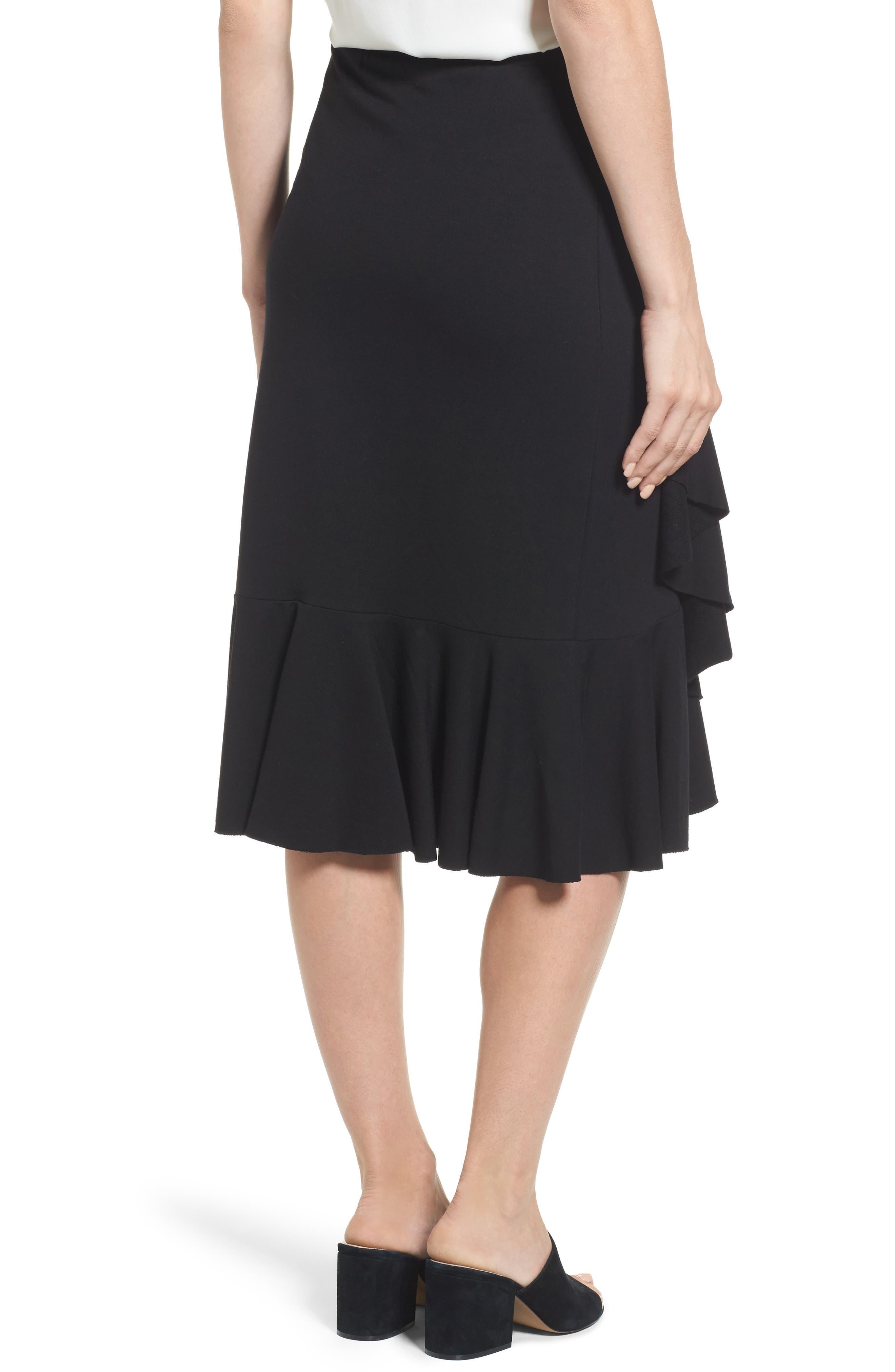 Ruffled Knit Skirt,                             Alternate thumbnail 2, color,                             001