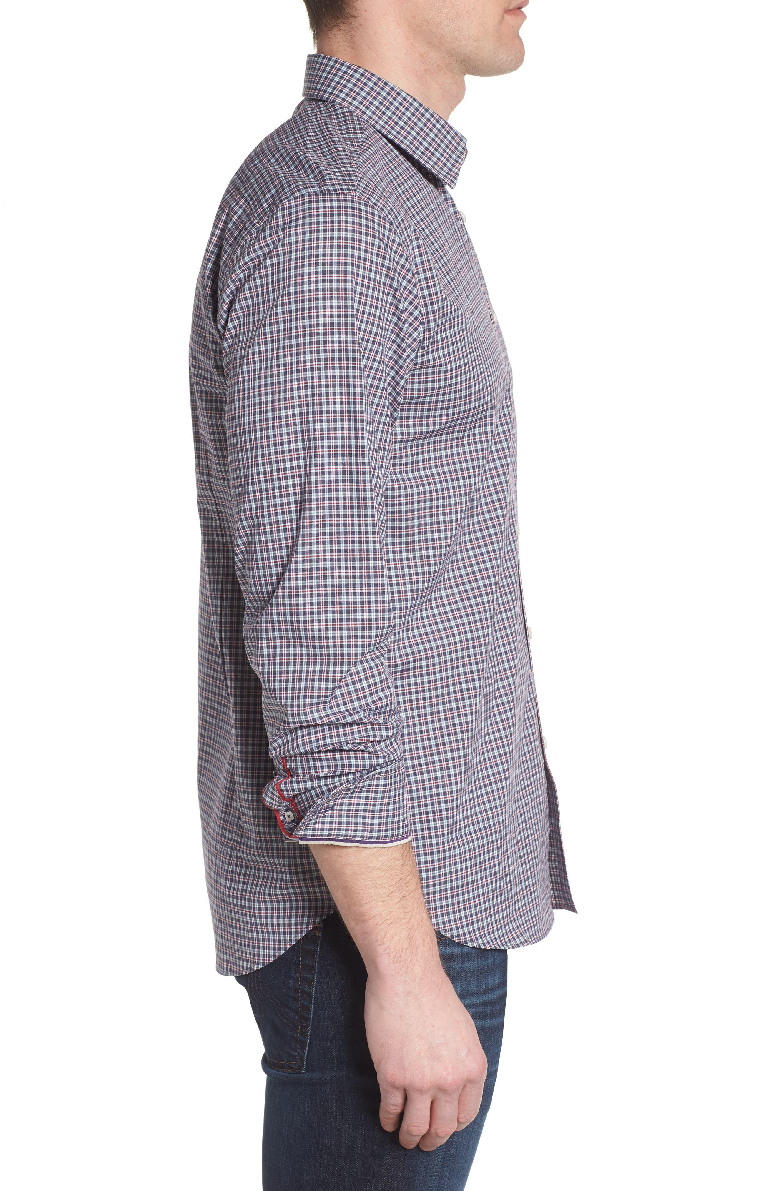 Slim Fit Check Sport Shirt,                             Alternate thumbnail 3, color,                             031