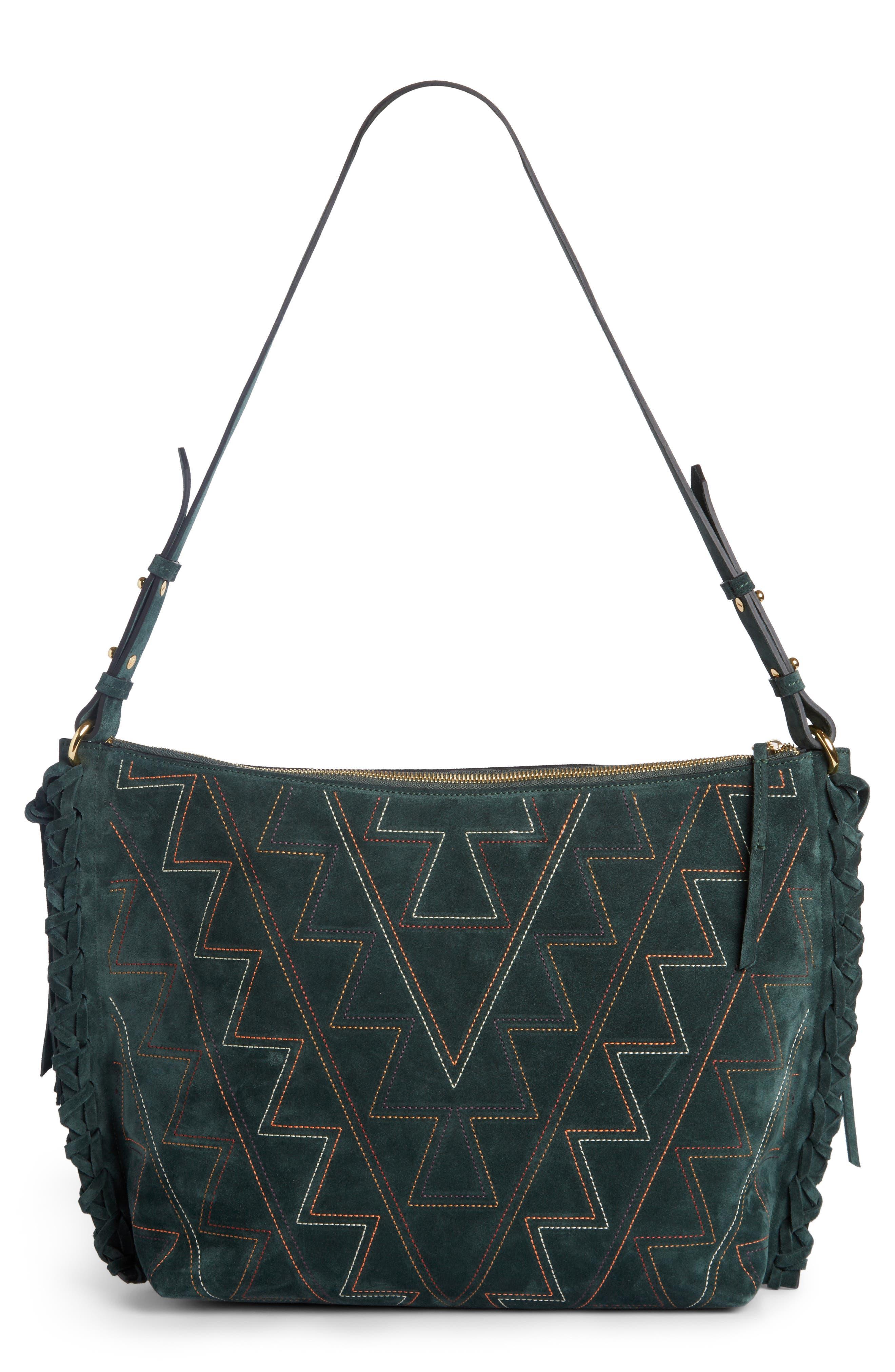 Osun Stitched Suede Shoulder Bag,                             Main thumbnail 1, color,                             301