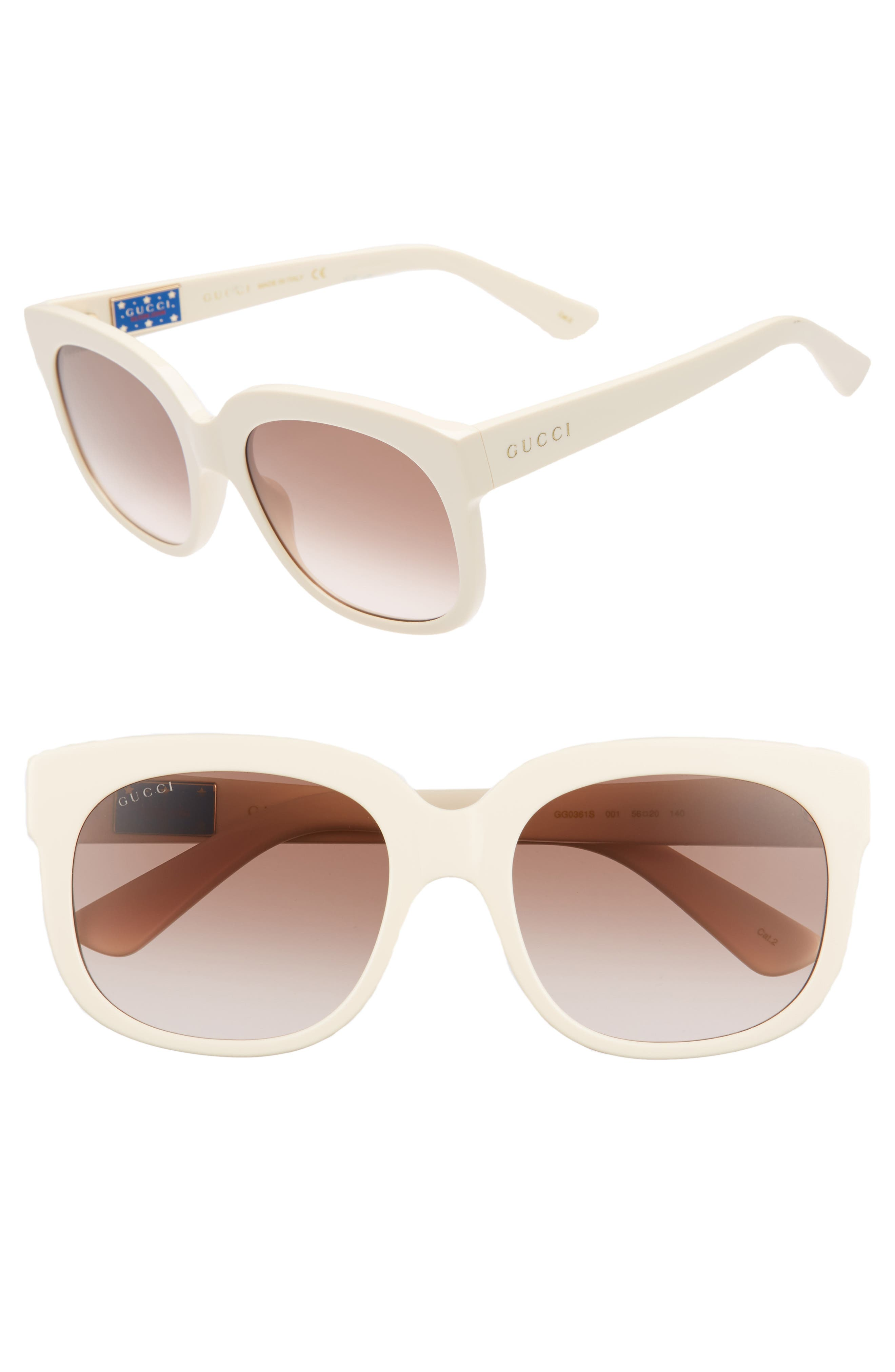 56mm Gradient Cat Eye Sunglasses,                             Main thumbnail 1, color,                             IVORY/ BROWN/ PINK