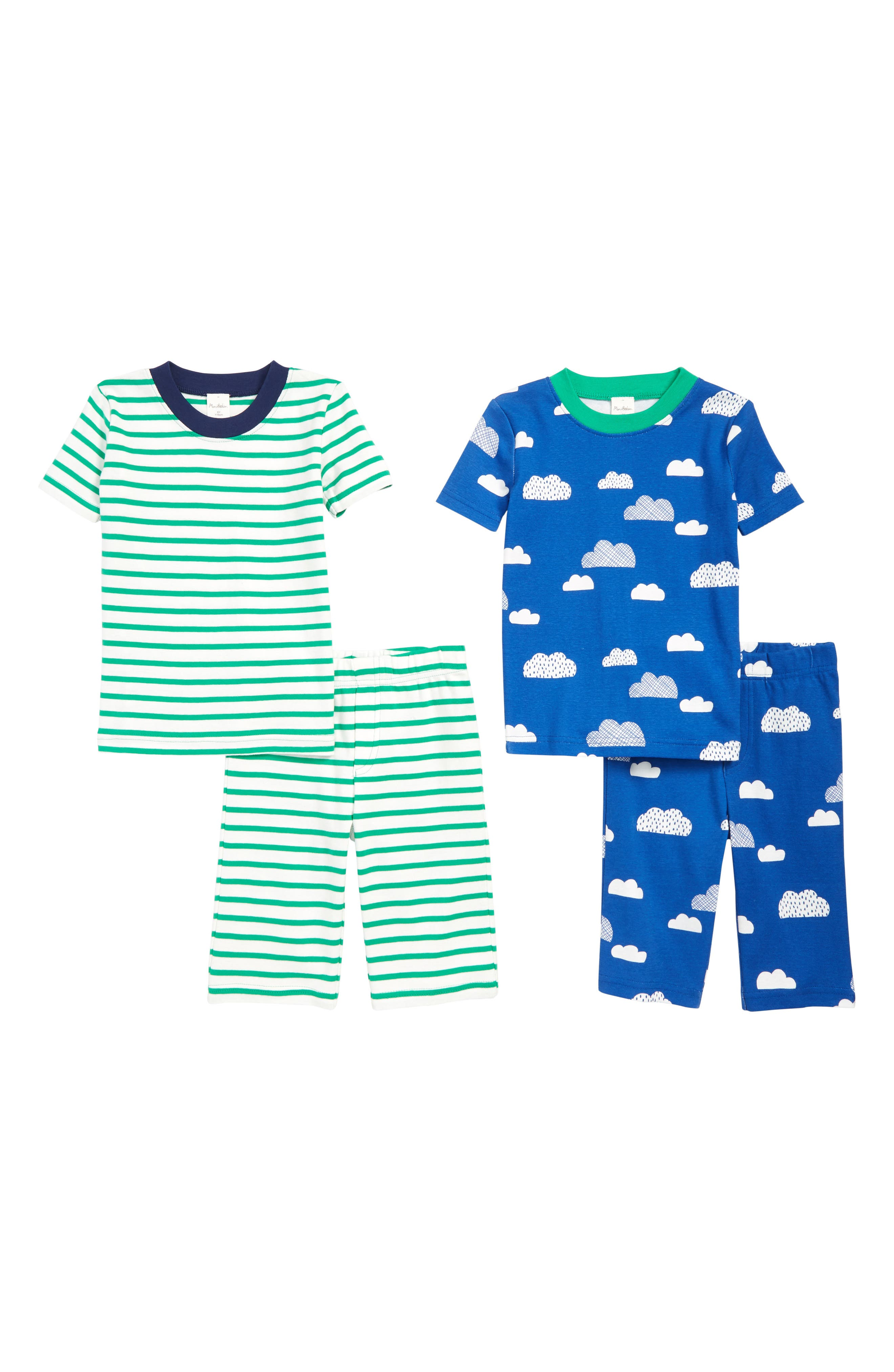 MINI BODEN 2-Pack Fitted Two-Piece Short Pajamas, Main, color, BLU DUKE BLUE CLOUDASTRO GREEN