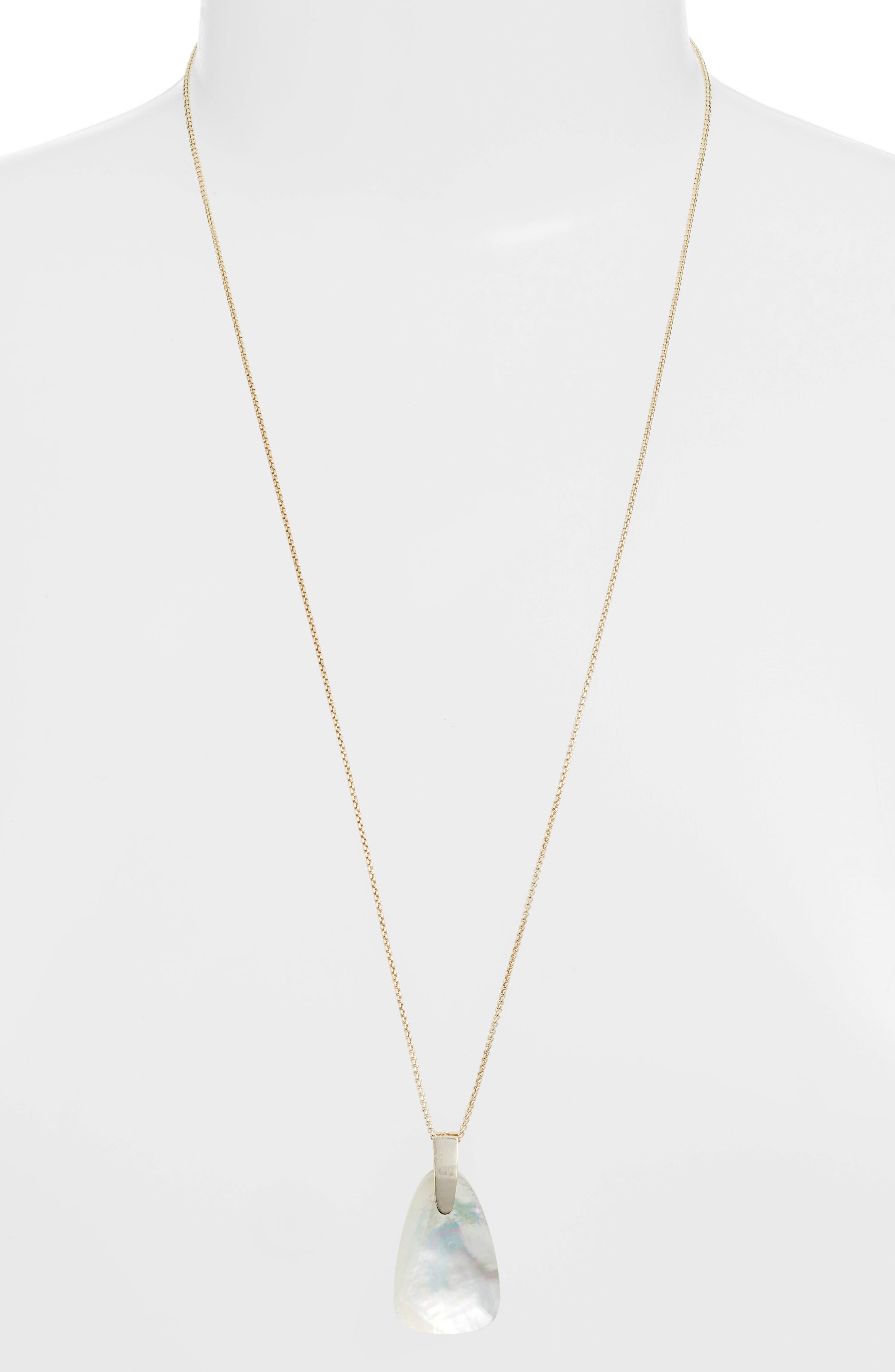KENDRA SCOTT Maeve Long Stone Pendant Necklace in Gold/ Ivory