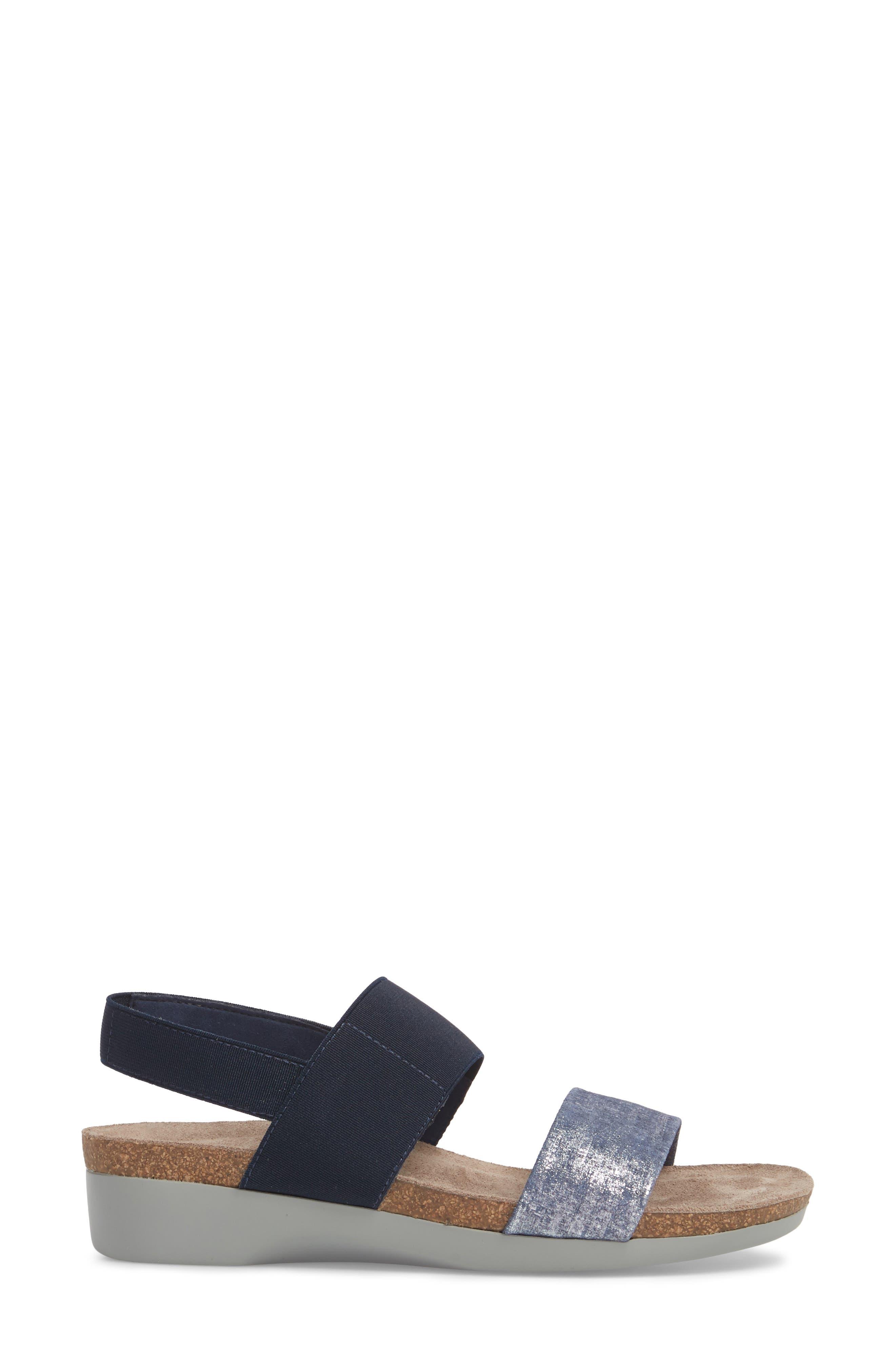 'Pisces' Sandal,                             Alternate thumbnail 3, color,                             BLUE/ SILVER METALLIC