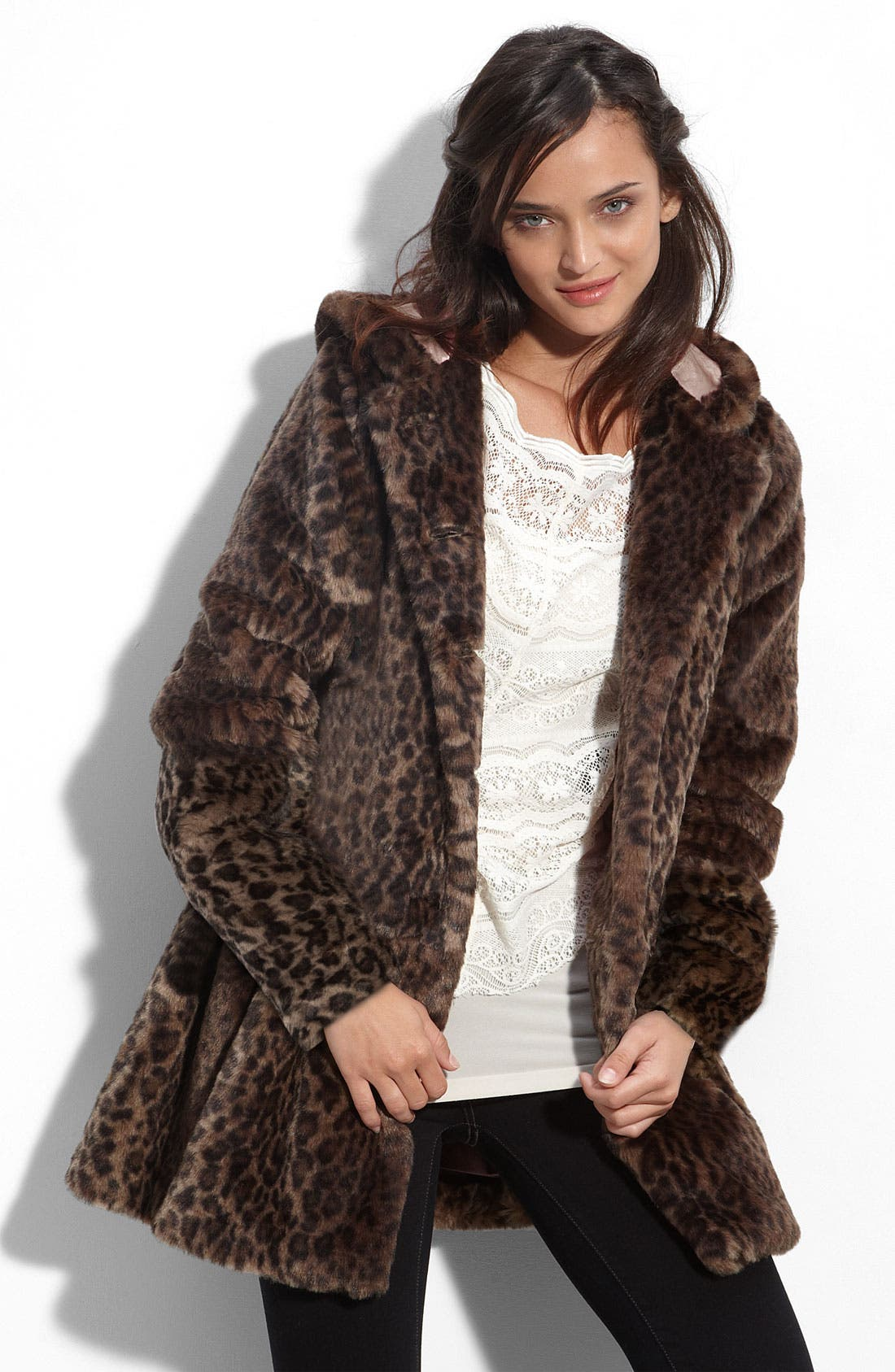 'All About Town' Leopard Print Faux Fur Hooded Jacket, Main, color, 903