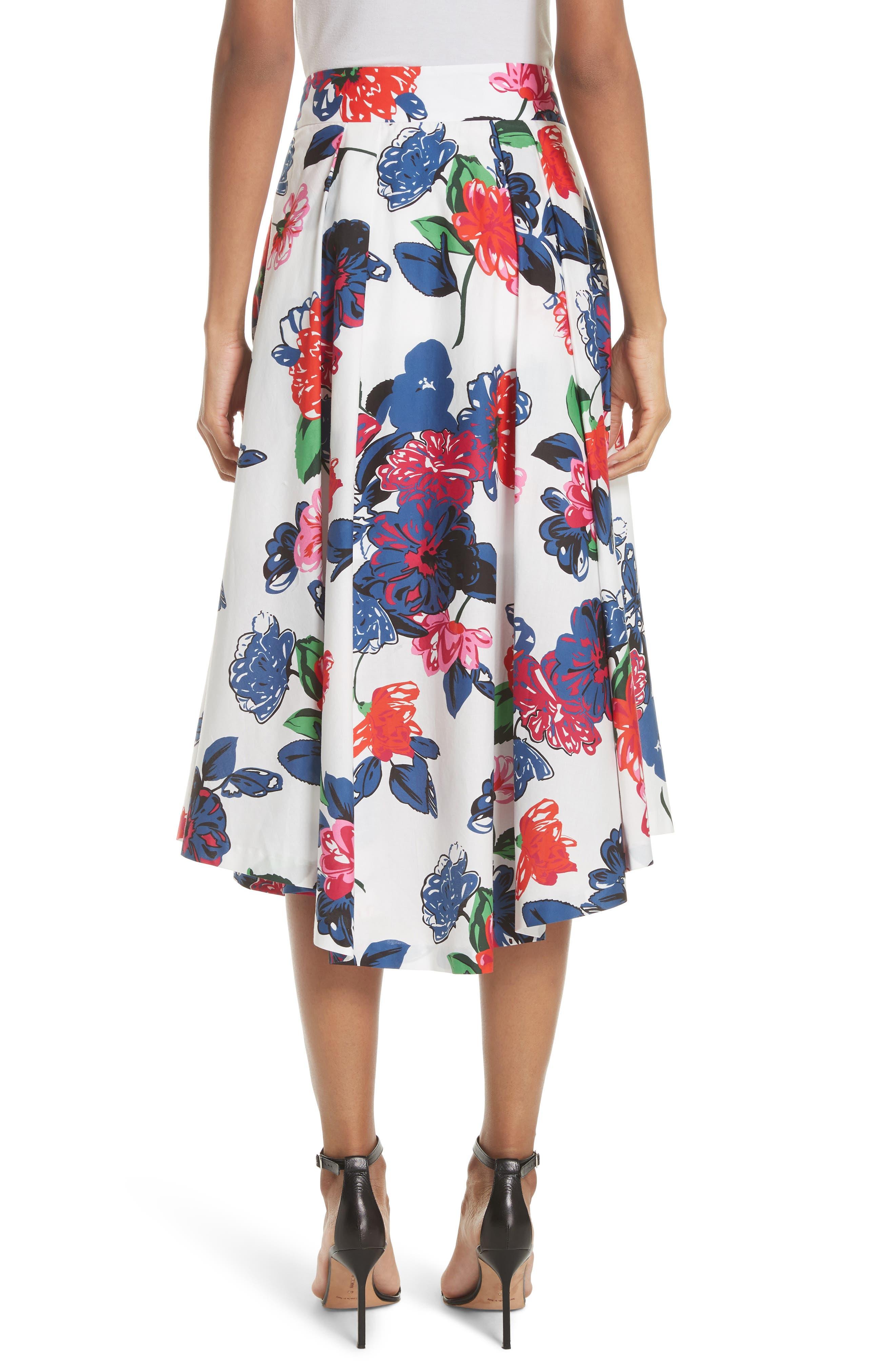 Floral Print Stretch Cotton Skirt,                             Alternate thumbnail 2, color,                             164