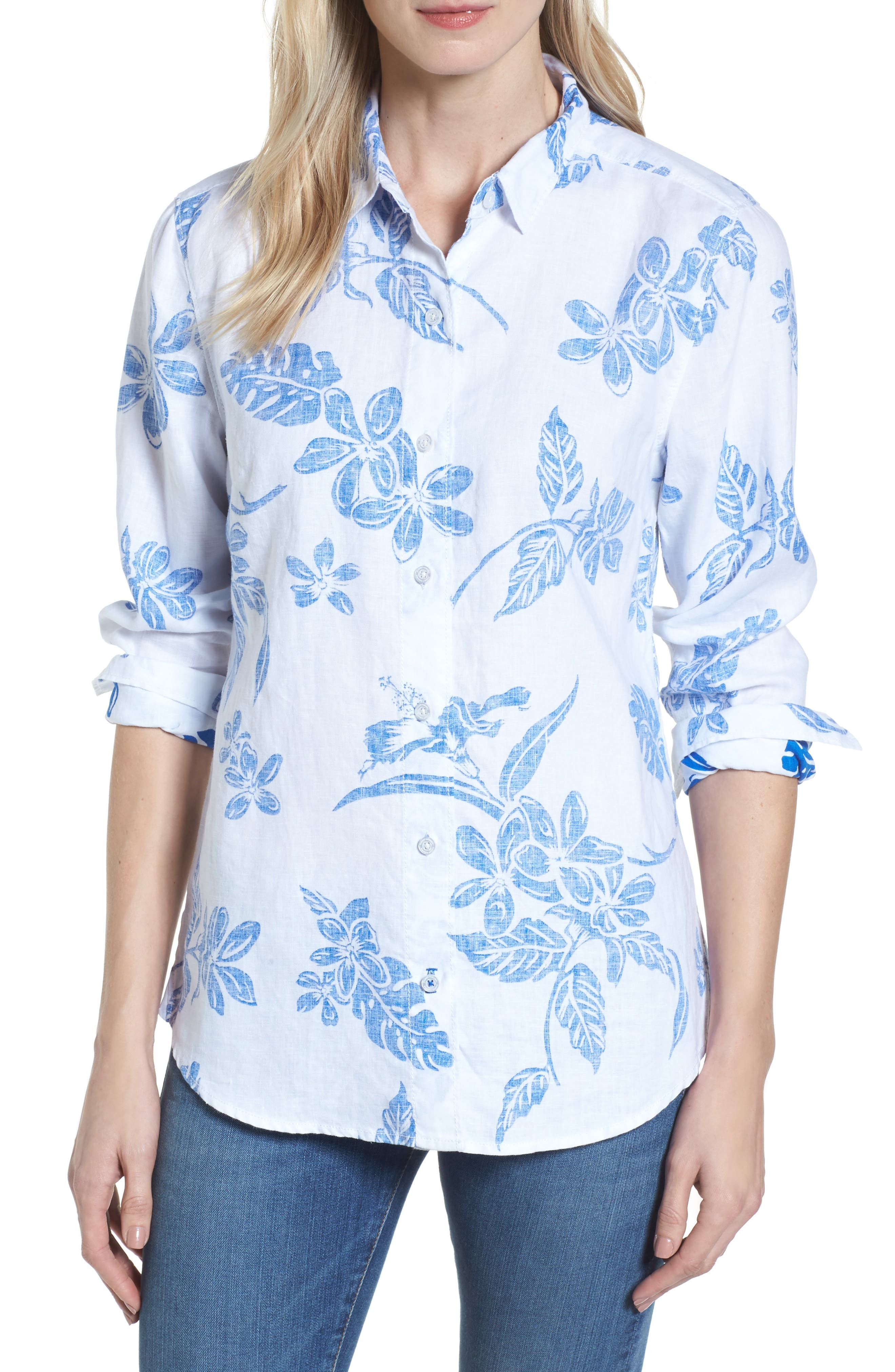 Hibiscus Hiatus Long Sleeve Top,                         Main,                         color, WHITE/ COBALT