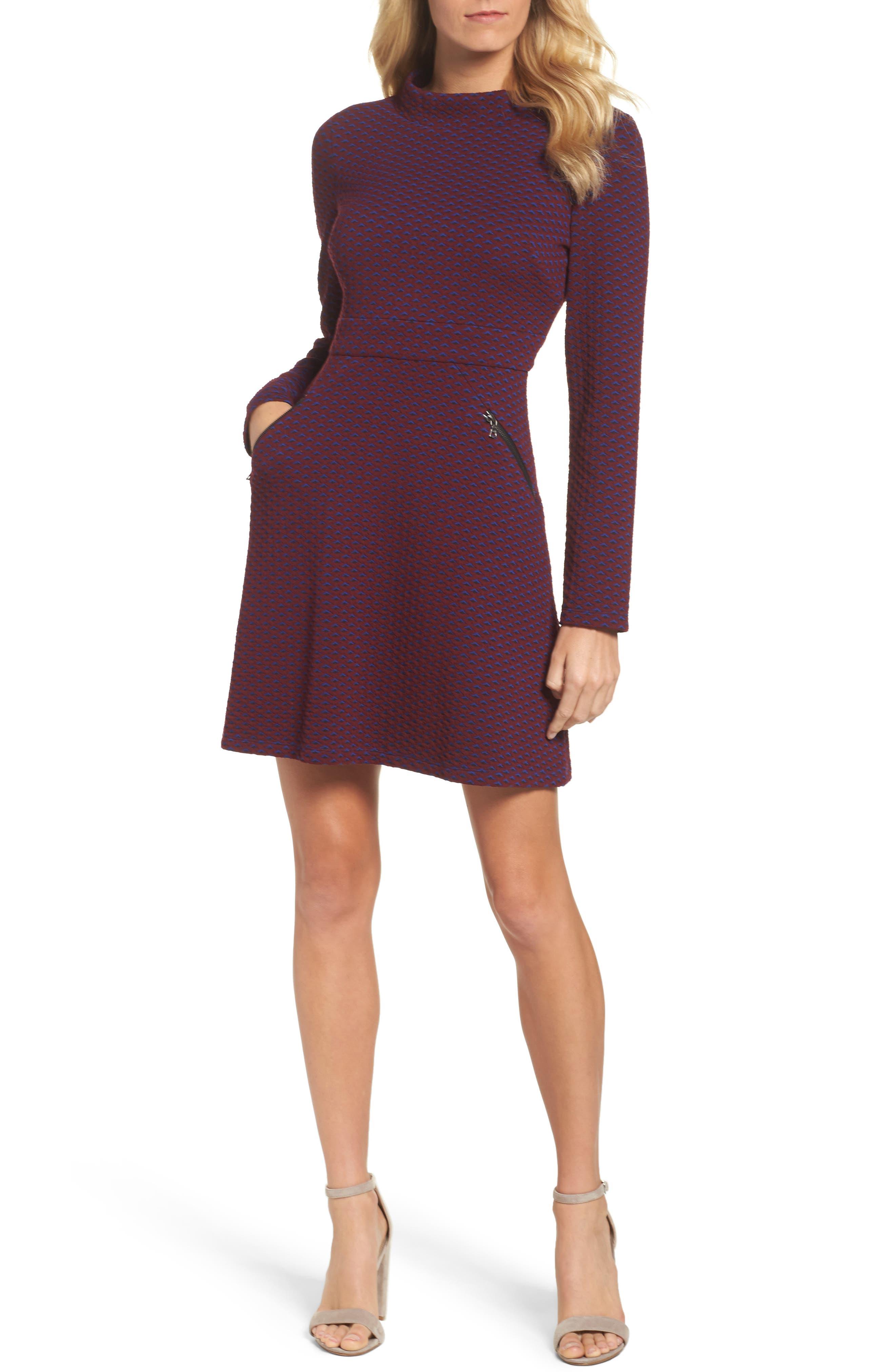 Jacquard Fit & Flare Dress,                             Main thumbnail 1, color,                             401