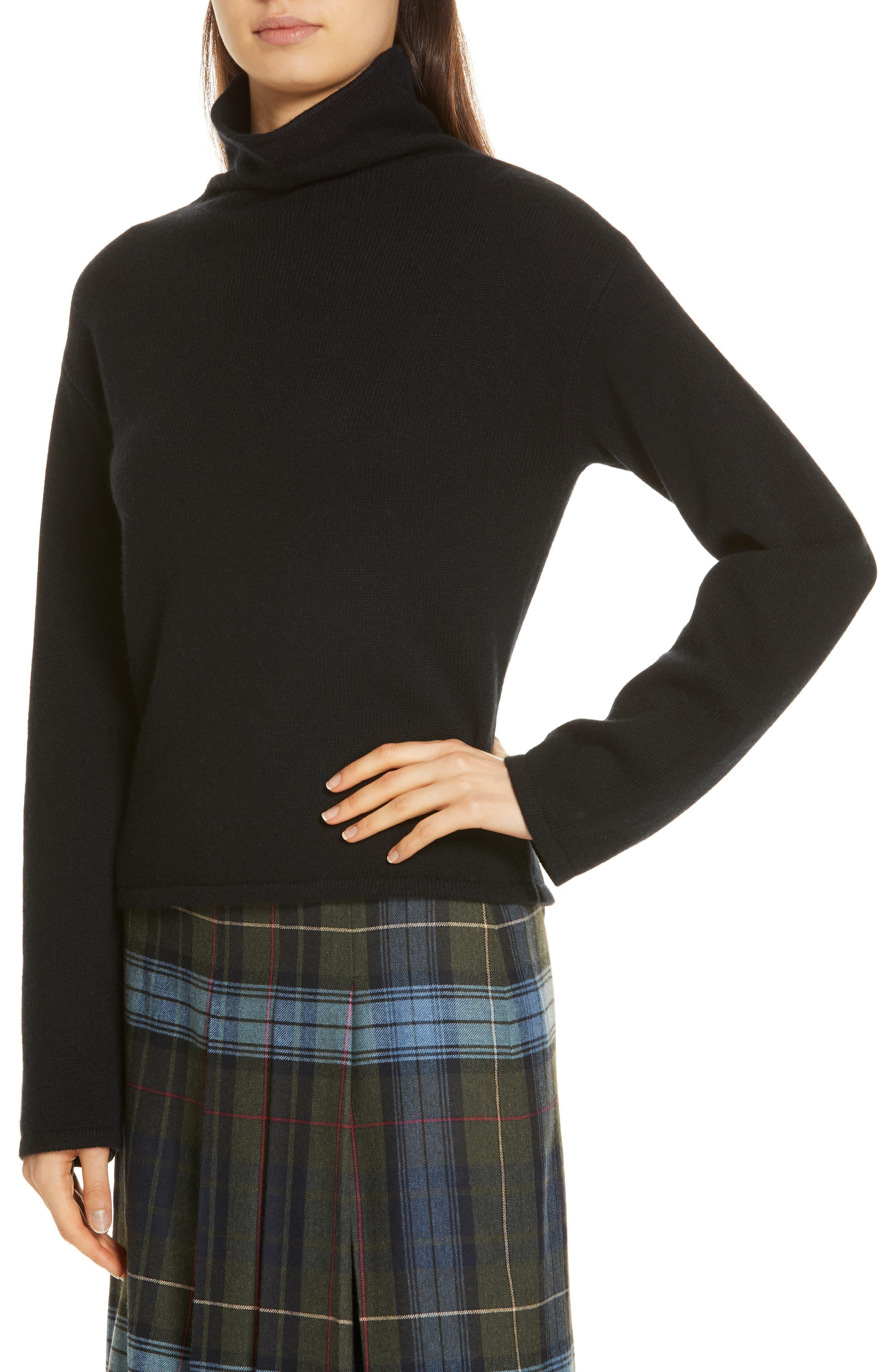 Funnel Neck Cashmere Sweater,                             Alternate thumbnail 4, color,                             BLACK