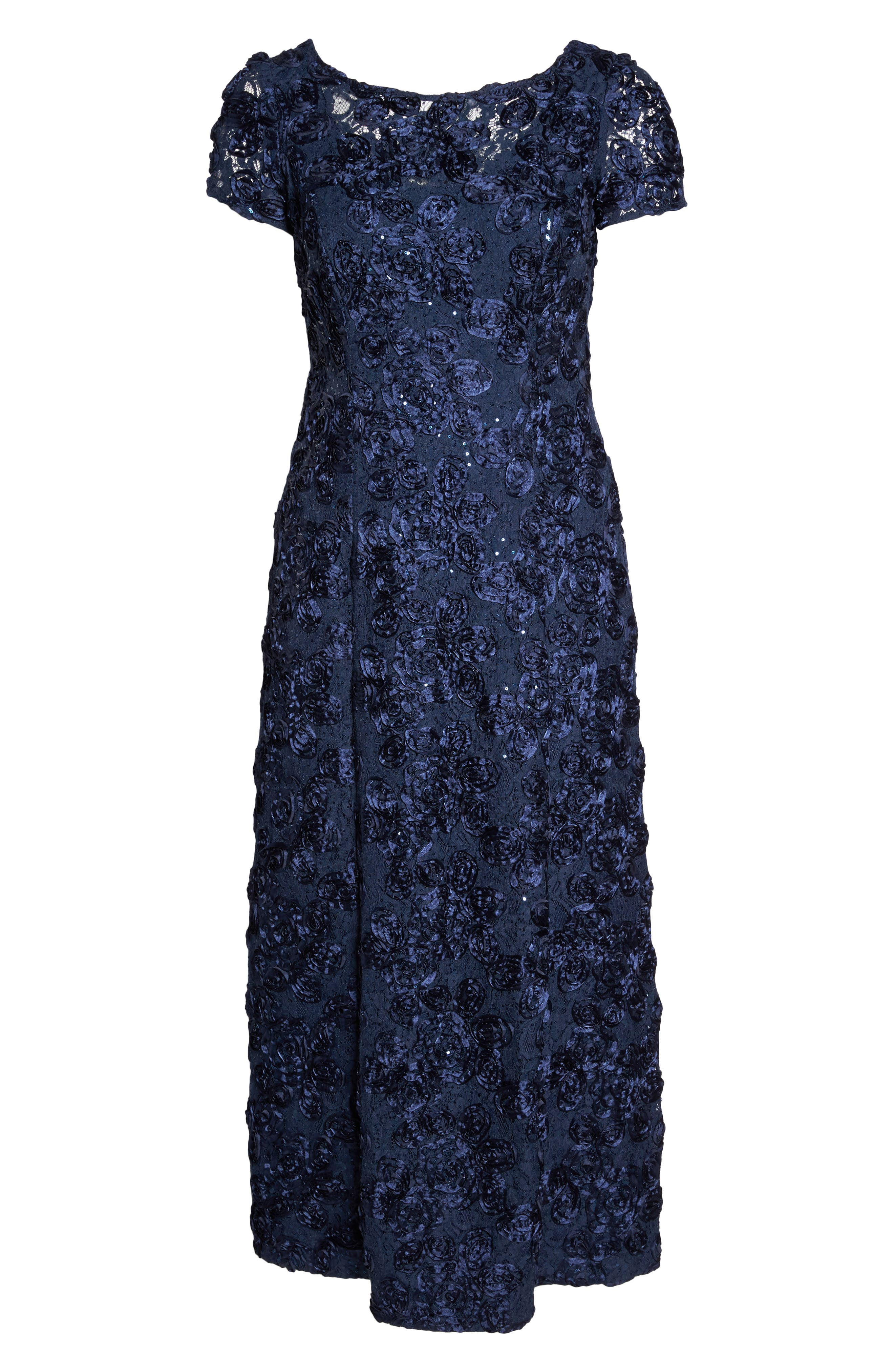 Rosette Lace Short Sleeve A-Line Gown,                             Alternate thumbnail 7, color,                             NAVY