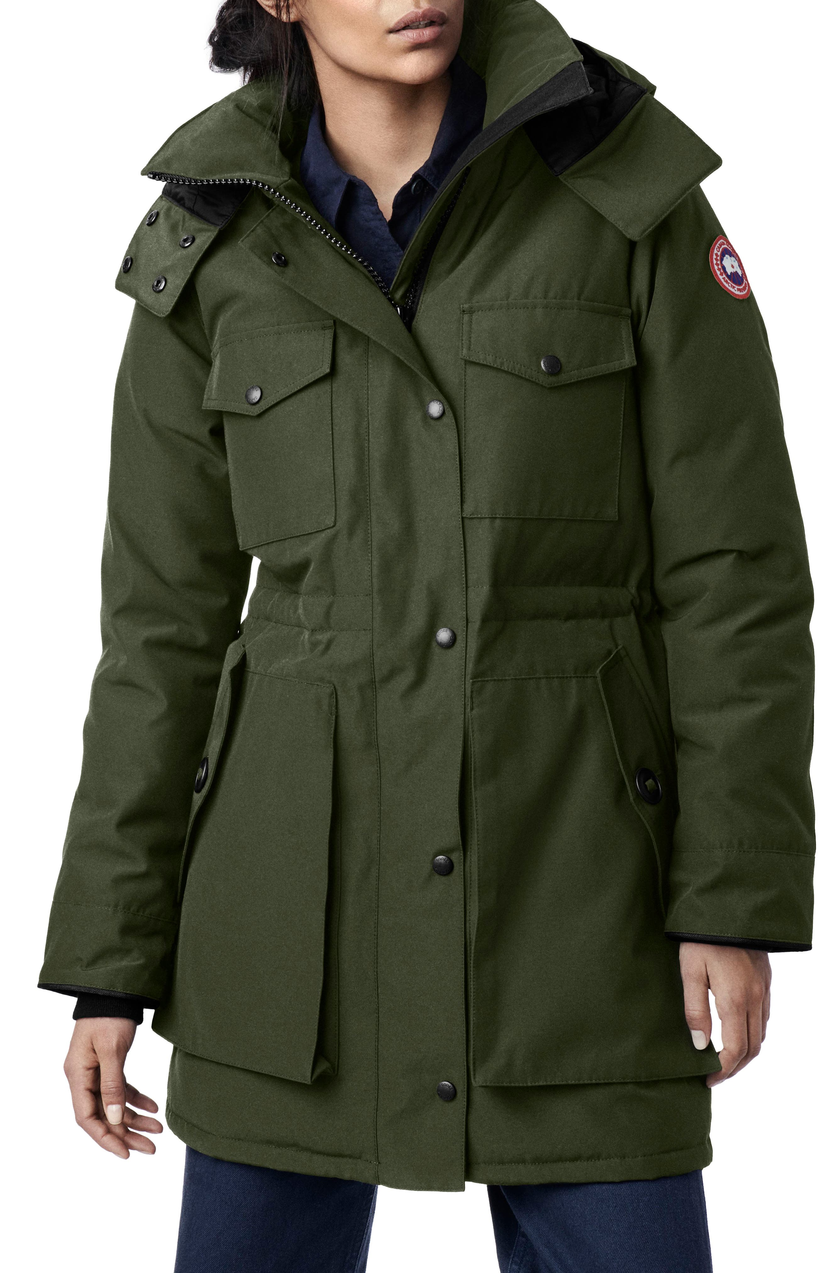 Gabriola Water Resistant Arctic Tech 625 Fill Power Down Parka,                         Main,                         color, MILITARY GREEN