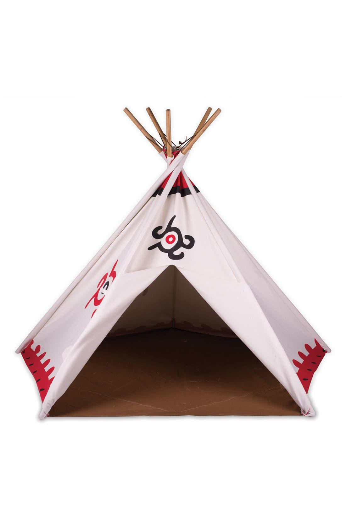 Cotton Canvas Teepee,                             Main thumbnail 1, color,                             WHITE/ RED