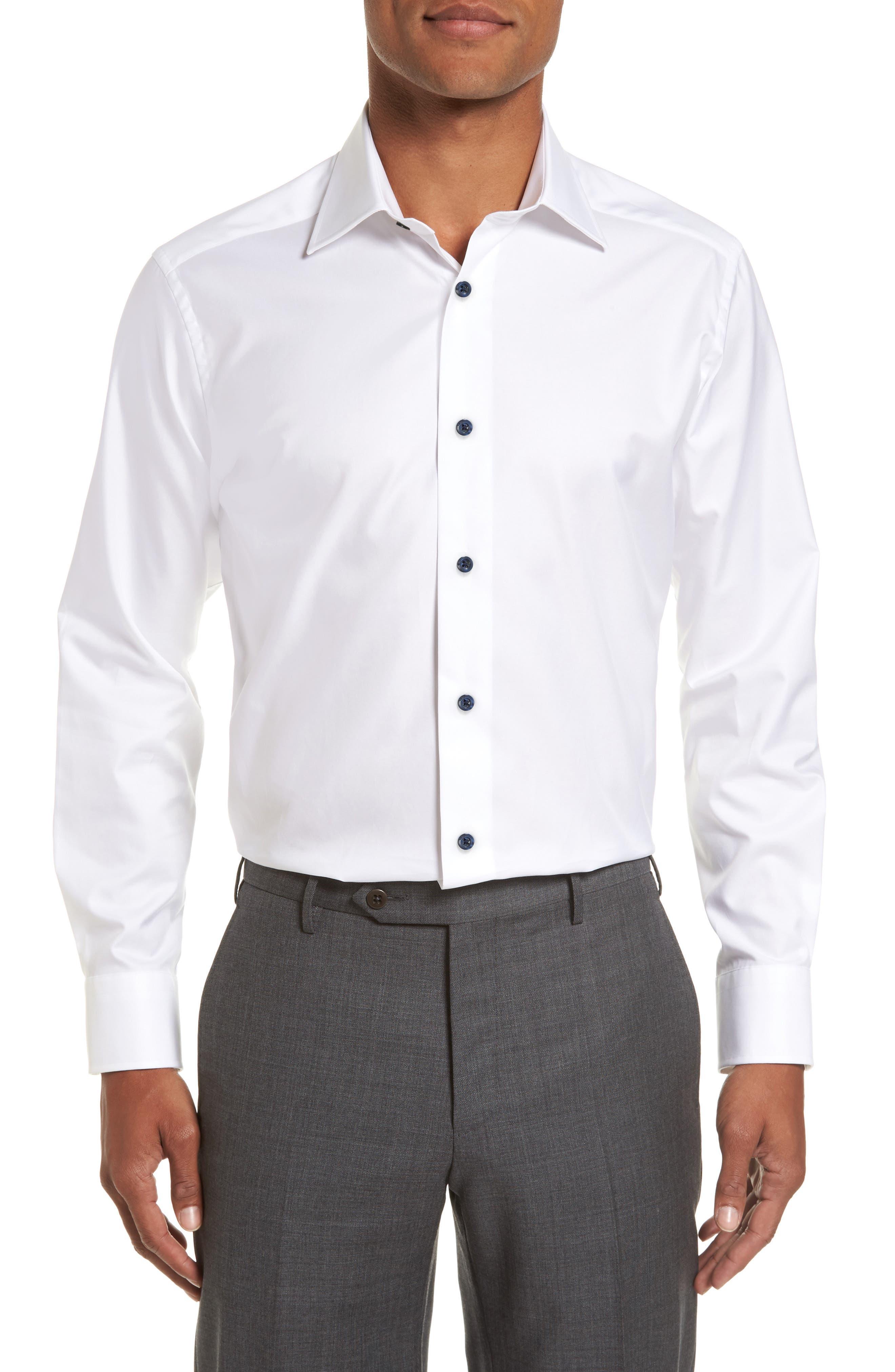 Slim Fit Solid Dress Shirt,                             Main thumbnail 1, color,                             WHITE