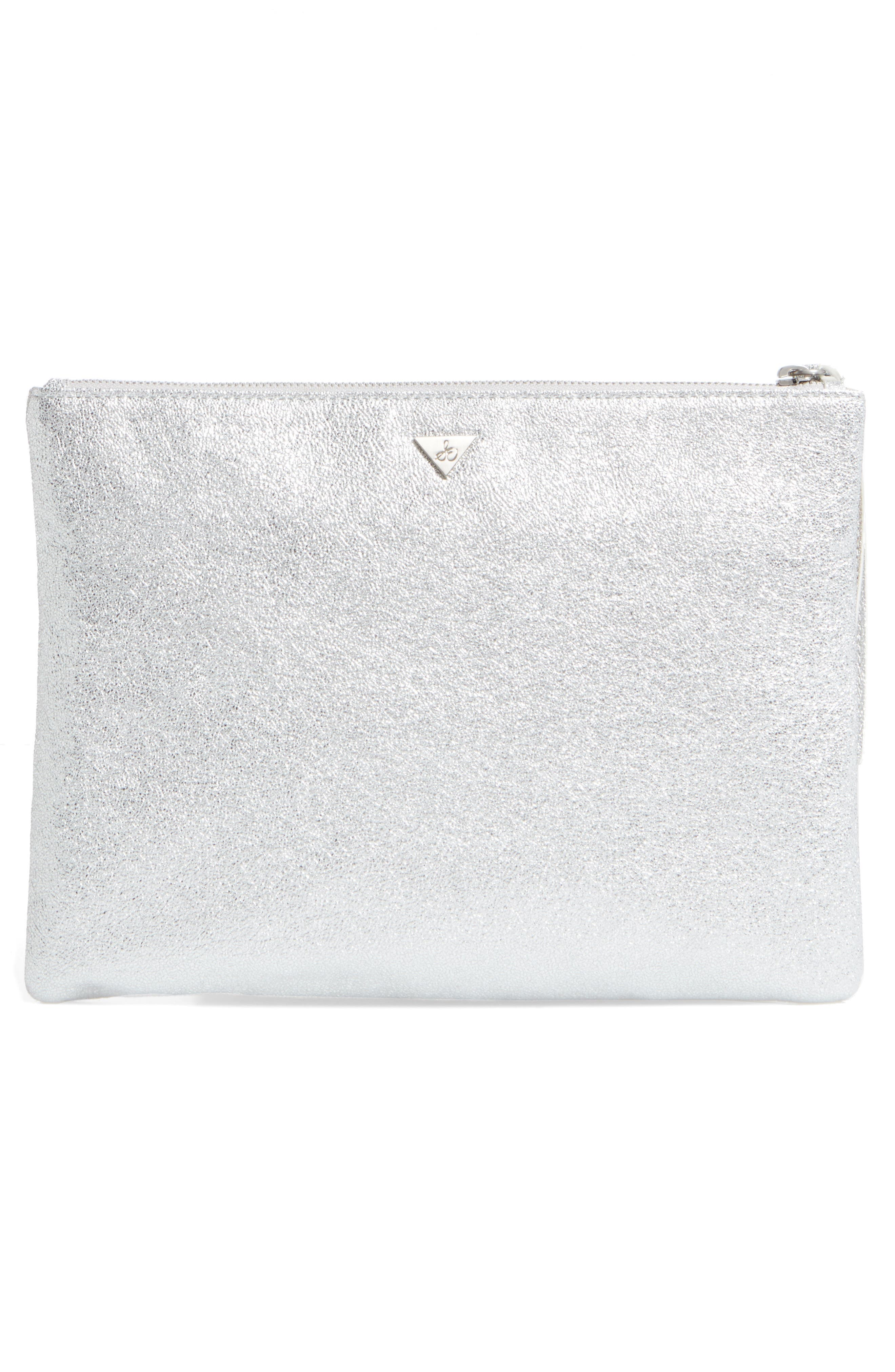 Jeana Hand Zip Metallic Faux Leather Pouch,                             Alternate thumbnail 3, color,                             040