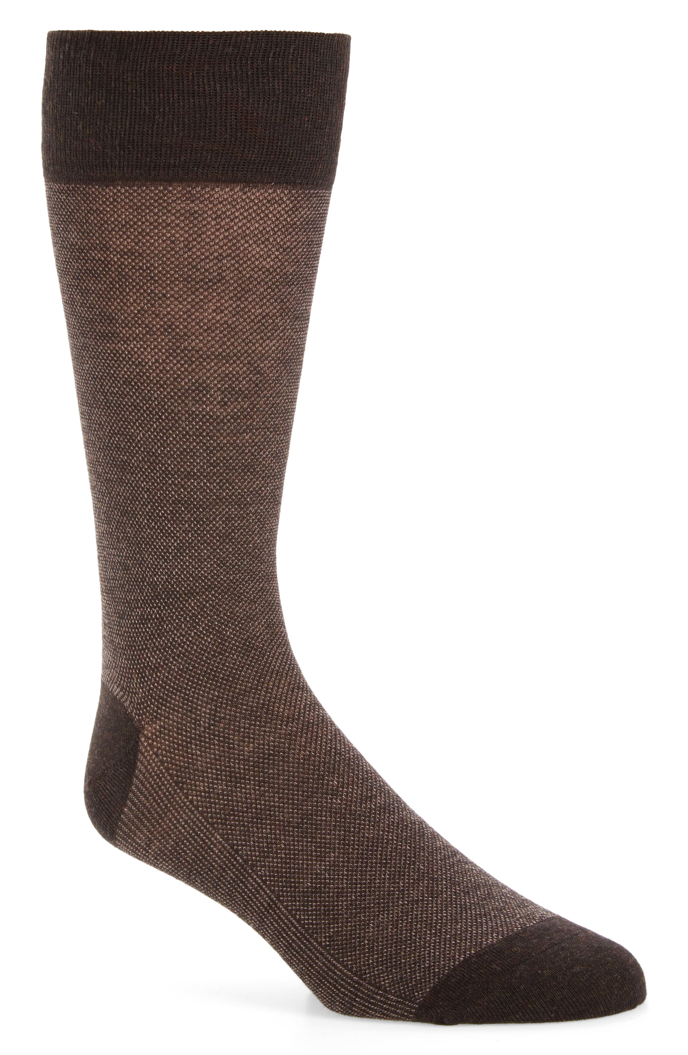 Vintage Men's Socks History-1900 to 1960s Mens Cole Haan Pique Texture Crew Socks Size One Size - Brown $12.50 AT vintagedancer.com