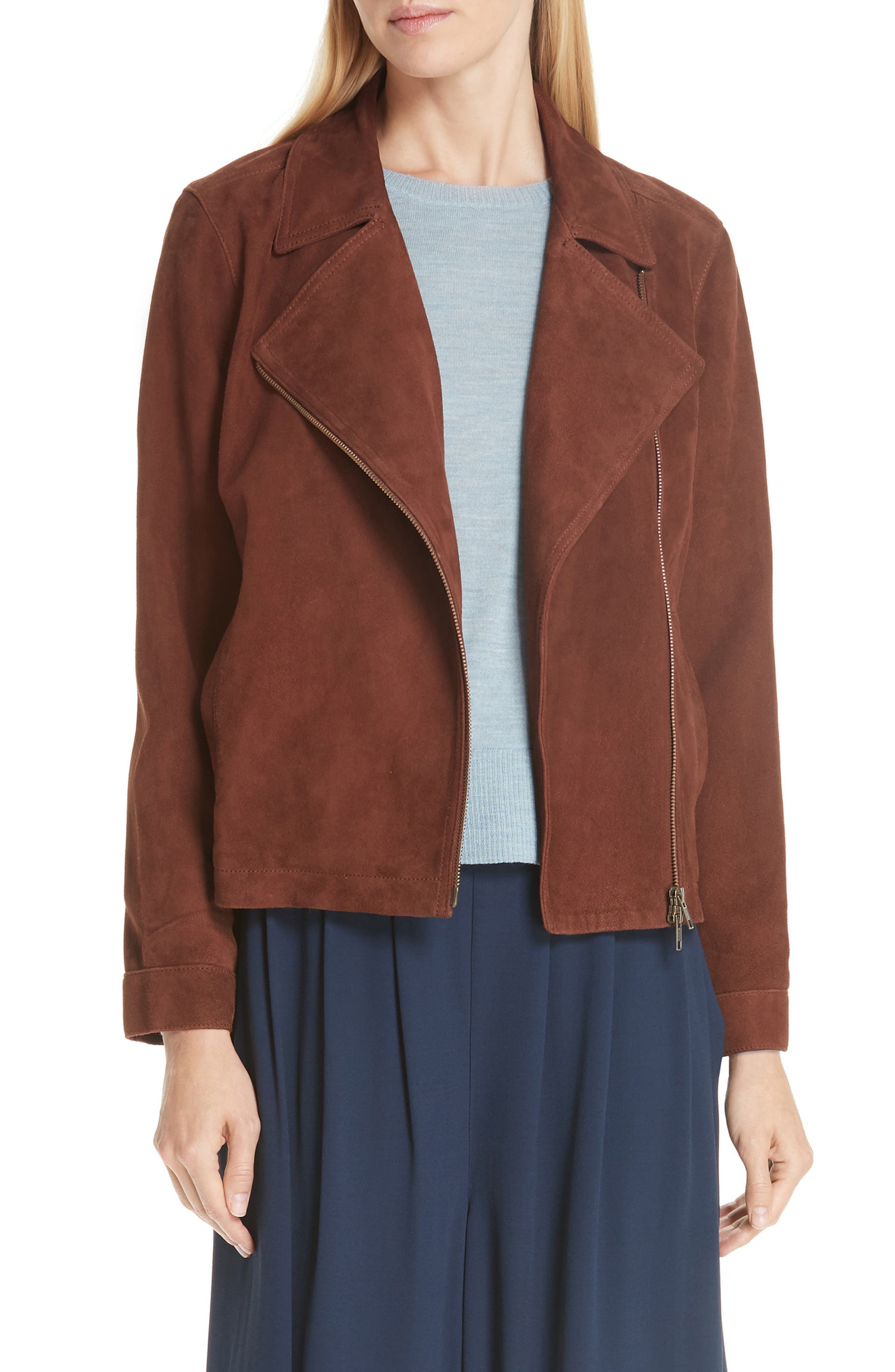 Asymmetrical Zip Suede Jacket in Nutmeg