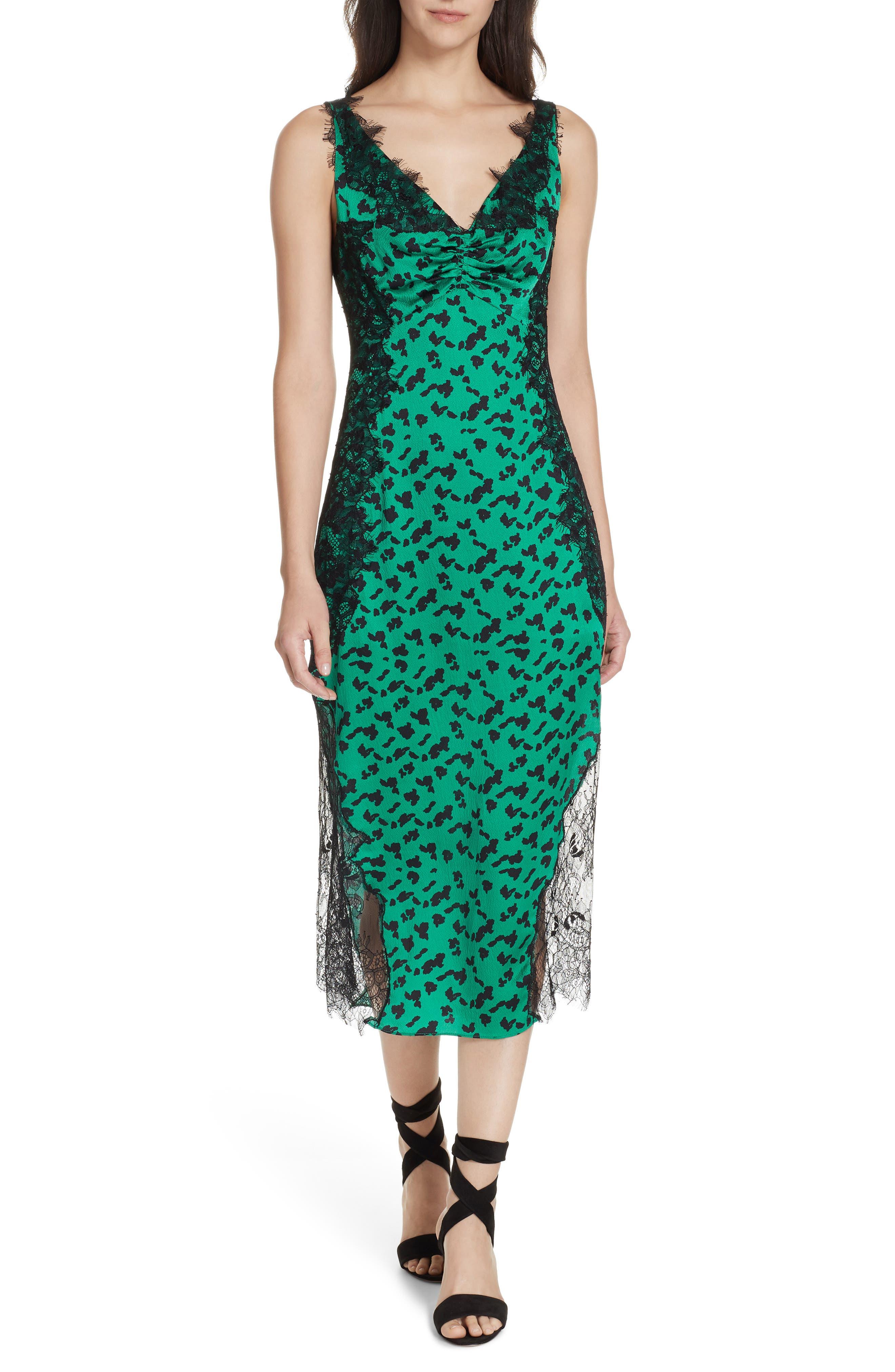 Irina Spot Silhouette Lace & Silk Dress, Main, color, GREEN