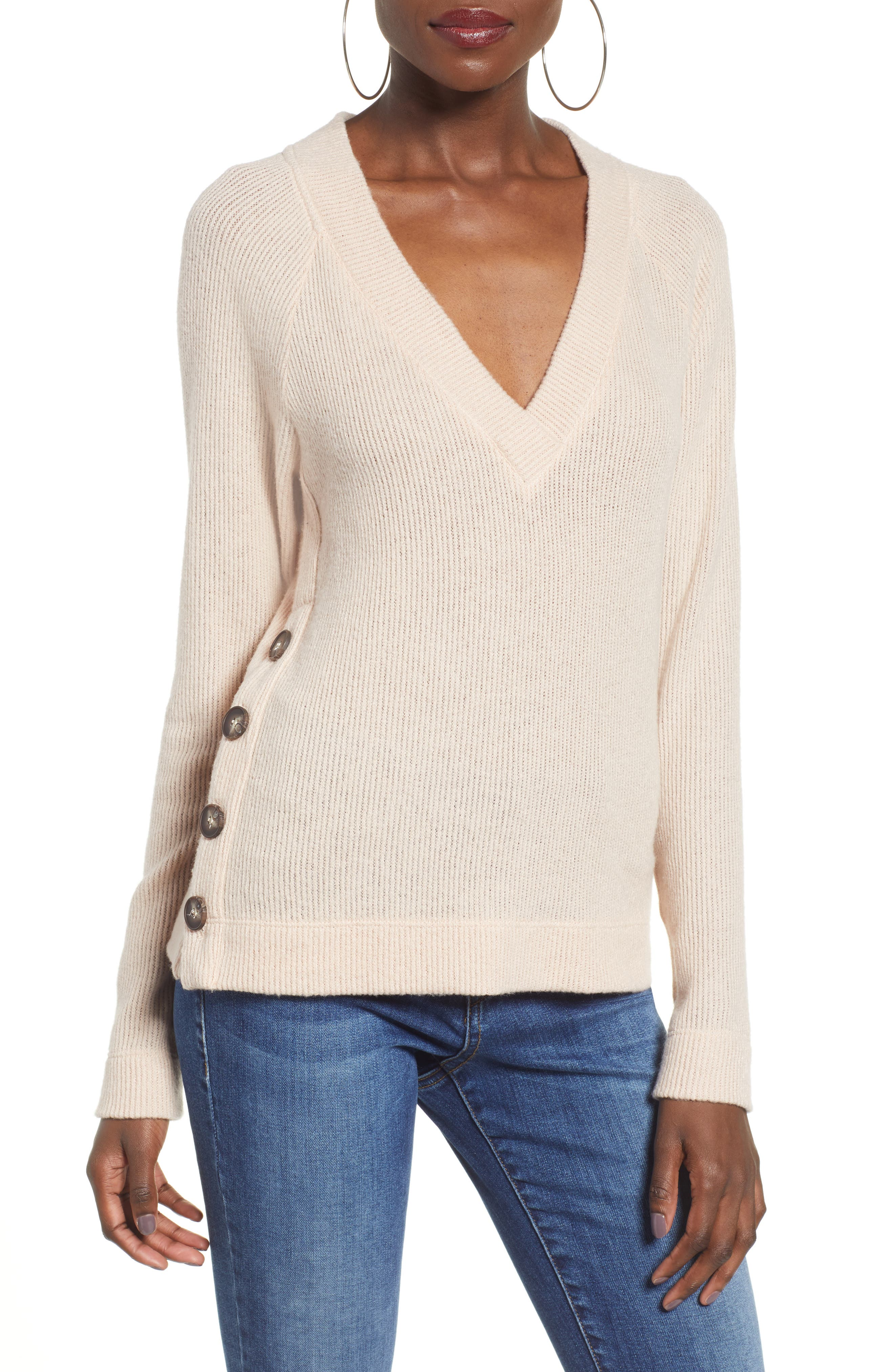 Side Button Sweater,                             Main thumbnail 1, color,                             BLUSH