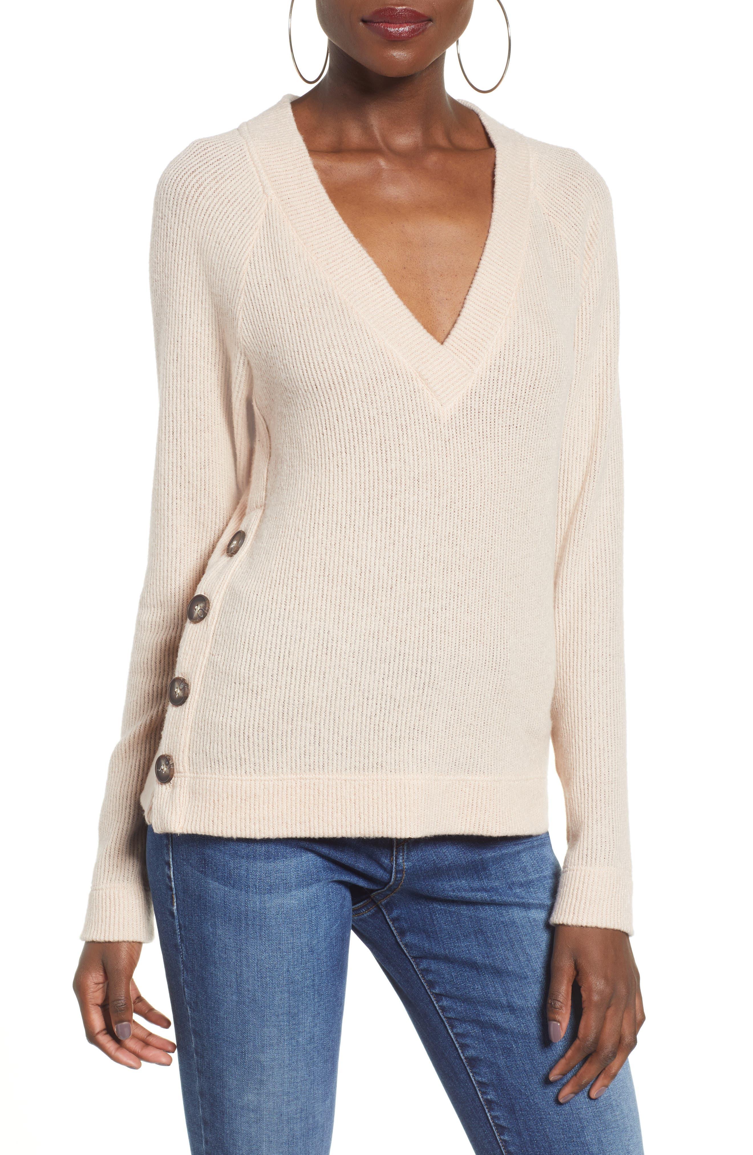 Side Button Sweater, Main, color, BLUSH