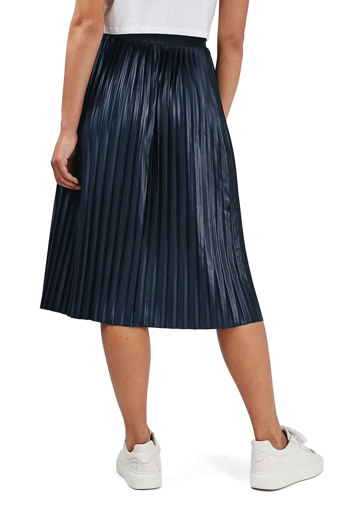 TOPSHOP,                             Pleat Jersey Midi Skirt,                             Alternate thumbnail 3, color,                             410