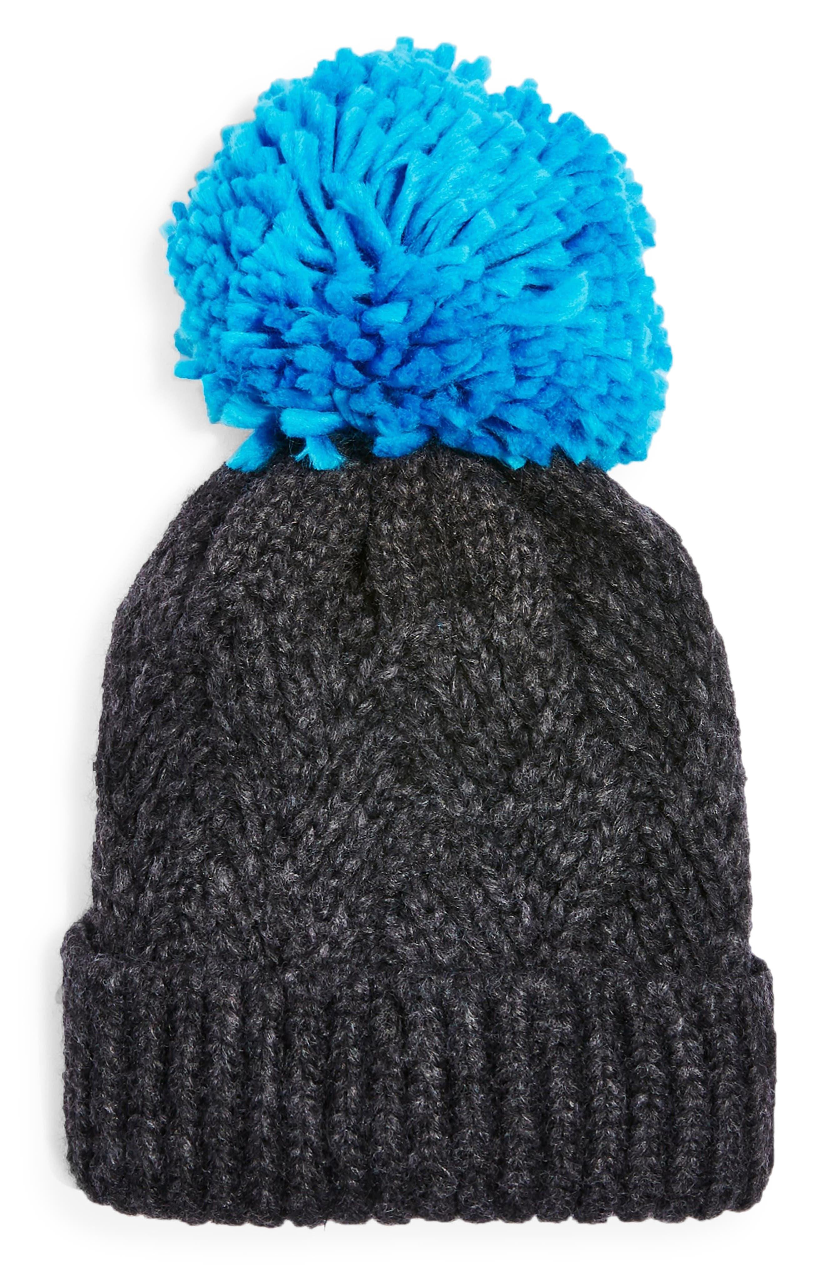 Topshop Chevron Knit Beanie Hat - Grey