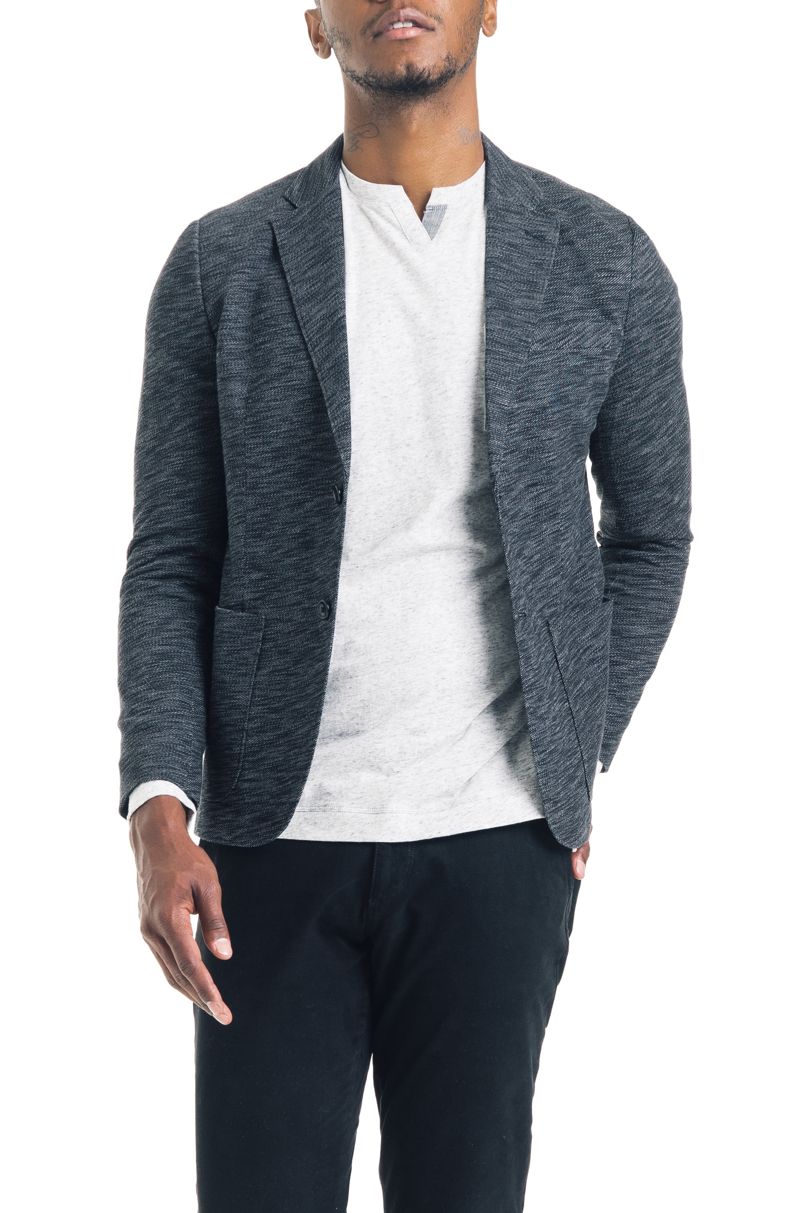 Slim Fit Vintage Twill Knit Blazer,                             Main thumbnail 1, color,                             BLACK / GREY HEATHER