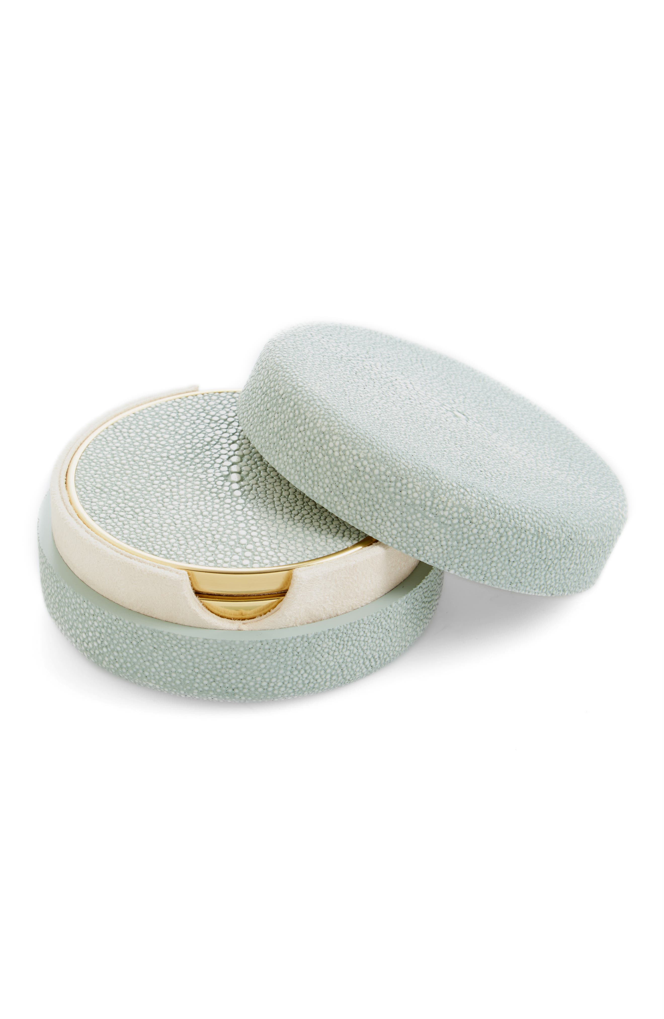 Shagreen Set of 4 Coasters with Lidded Holder,                         Main,                         color, MIST
