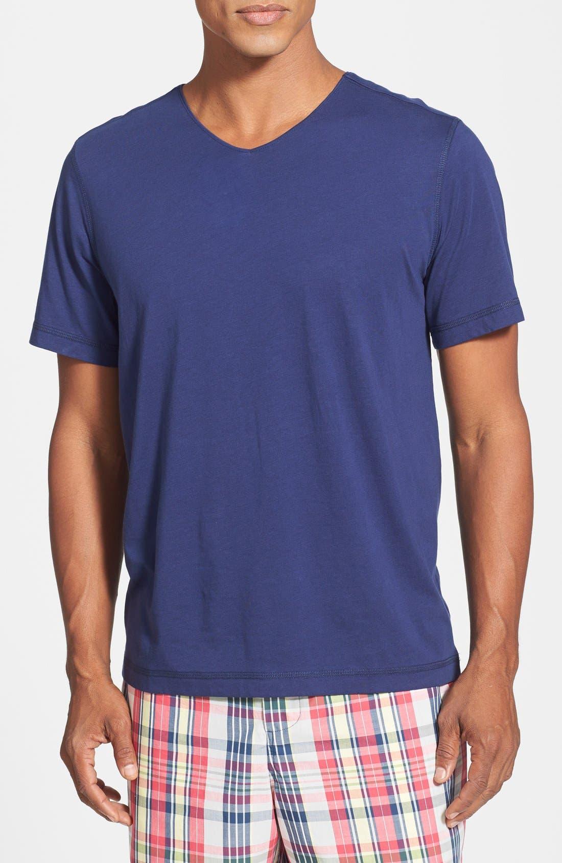 V-Neck Peruvian Pima Cotton T-Shirt,                         Main,                         color, NAVY