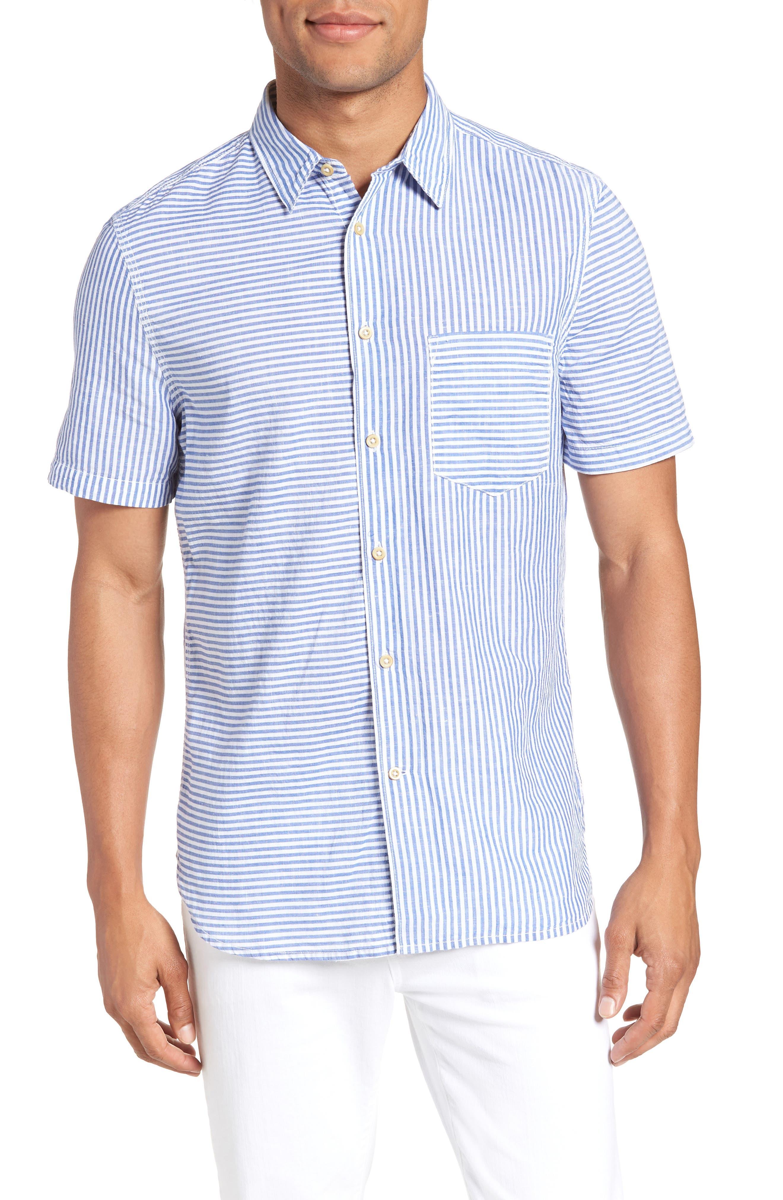 Stripe Chambray Cotton & Linen Sport Shirt,                         Main,                         color, RICH BLUE