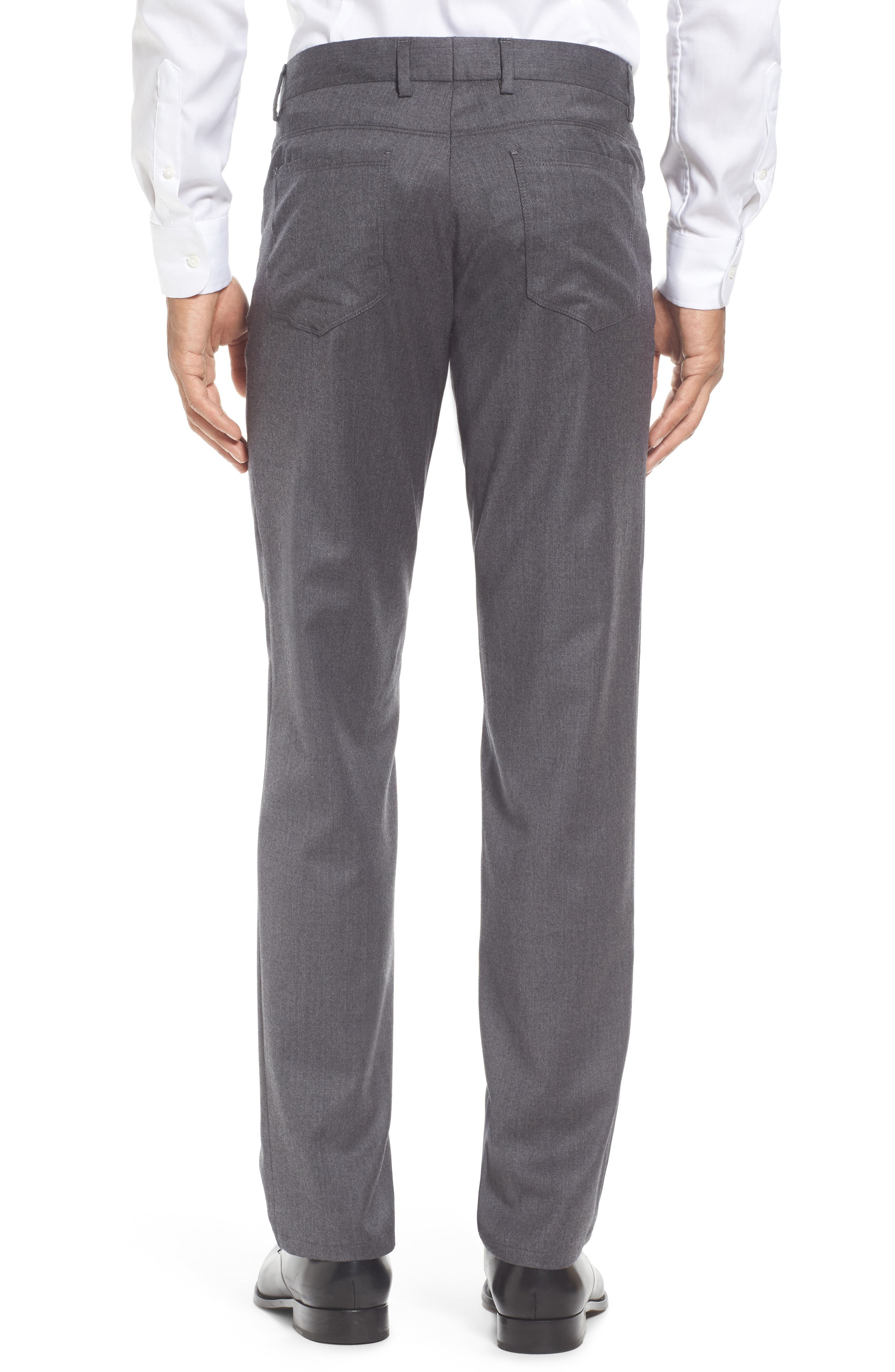 Flat Front Solid Stretch Wool Trousers,                             Alternate thumbnail 3, color,                             020