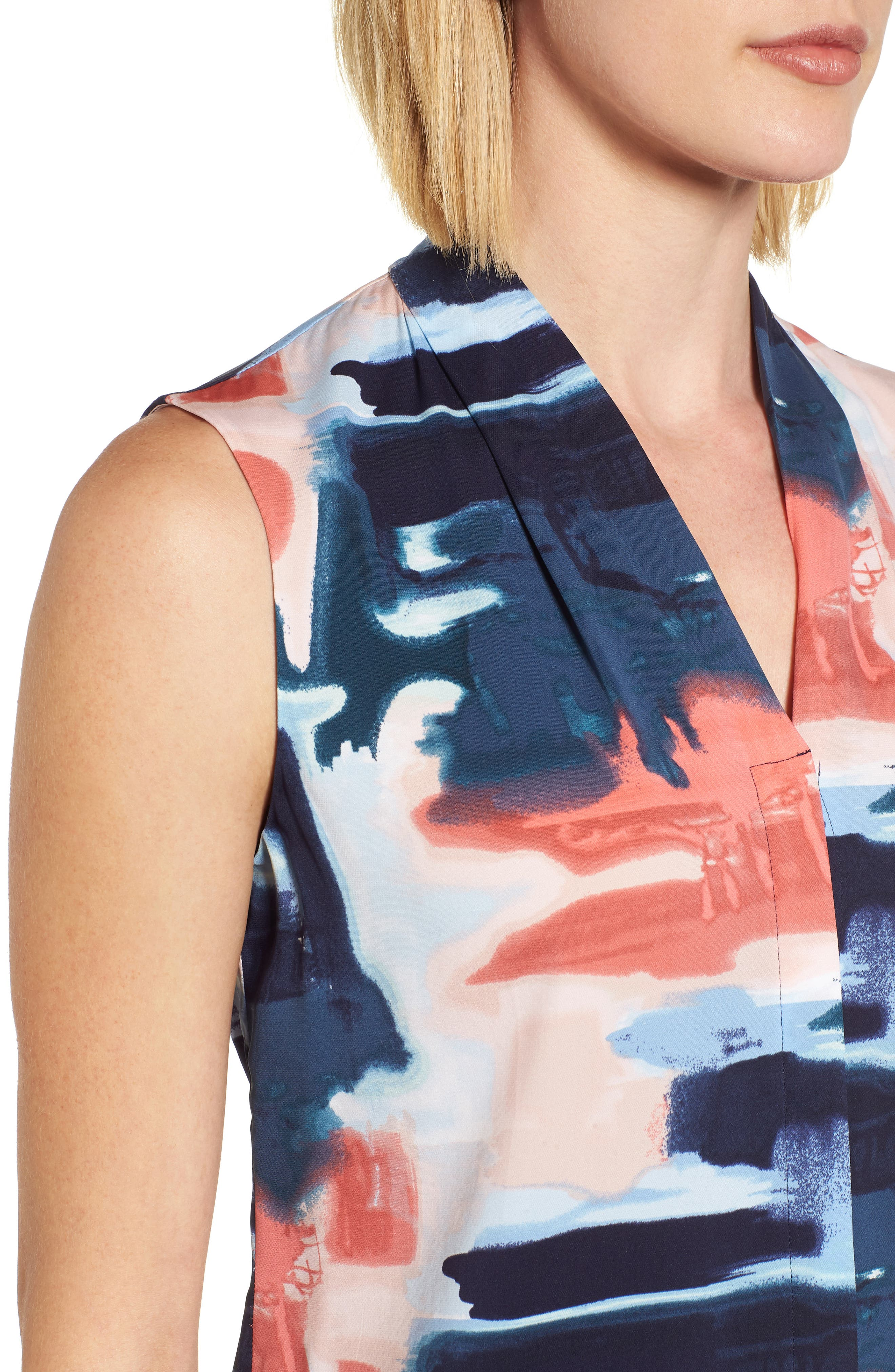 Abstract Print Silk Blend Blouse,                             Alternate thumbnail 14, color,