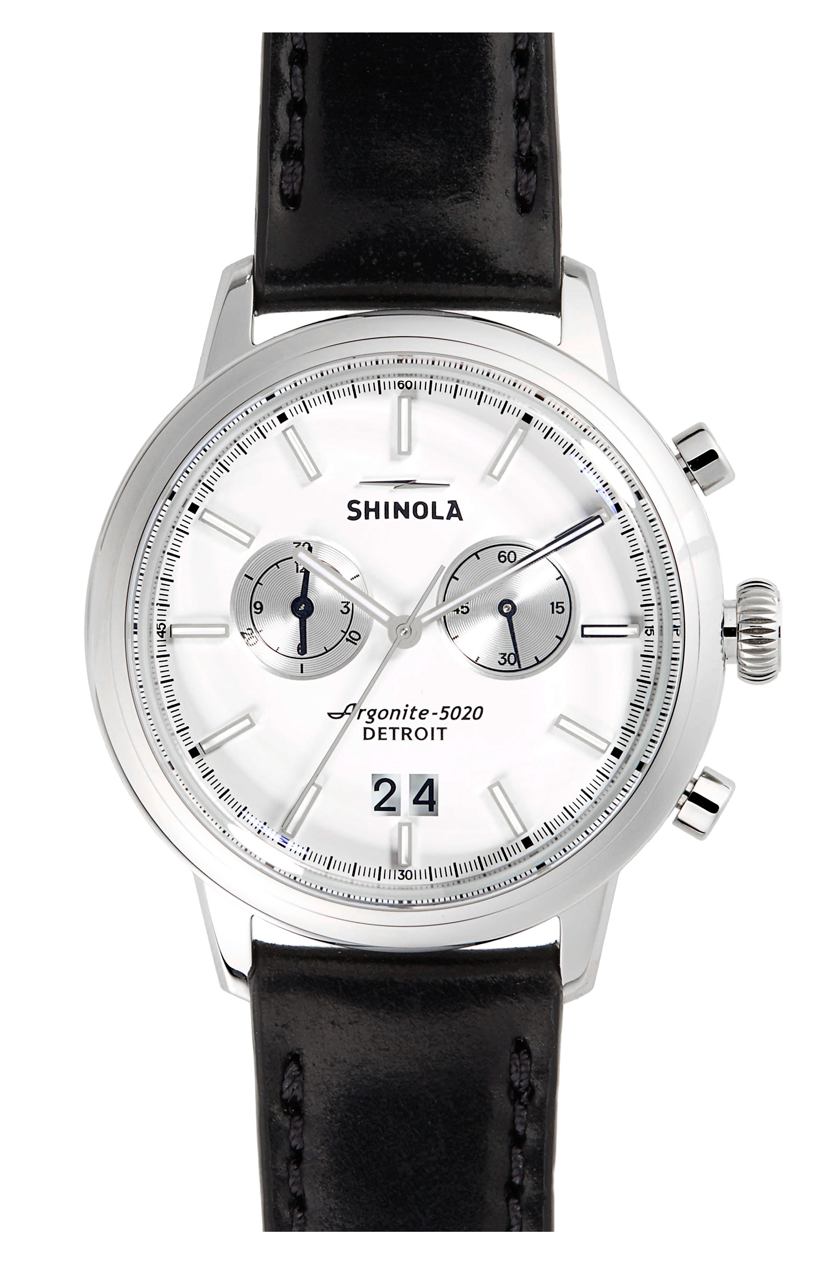 The Bedrock Chronograph Leather Strap Watch, 42mm,                         Main,                         color, BLACK/ WHITE/ SILVER