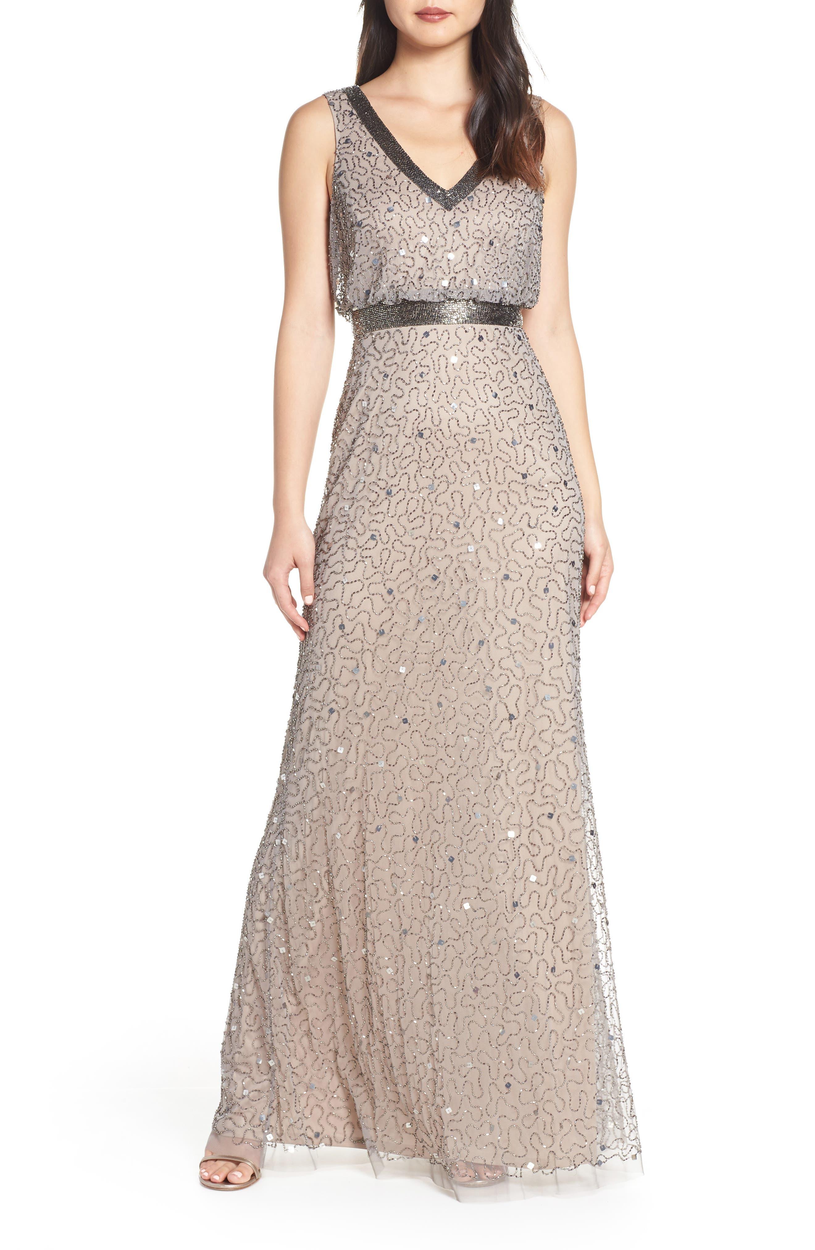 Adrianna Papell Beaded Mesh Evening Dress, Beige