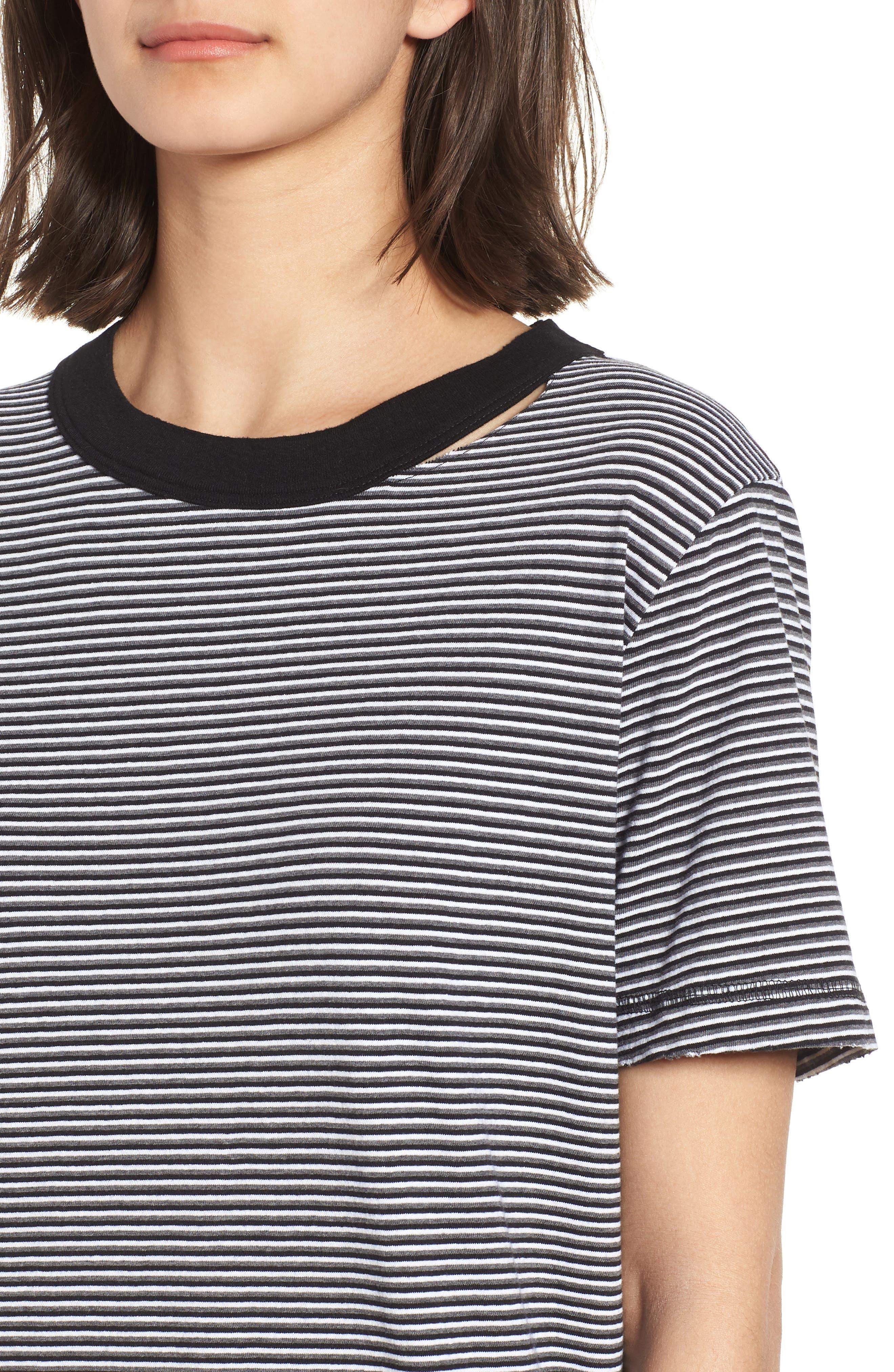 Azul Ringer Stripe T-Shirt Dress,                             Alternate thumbnail 4, color,                             400