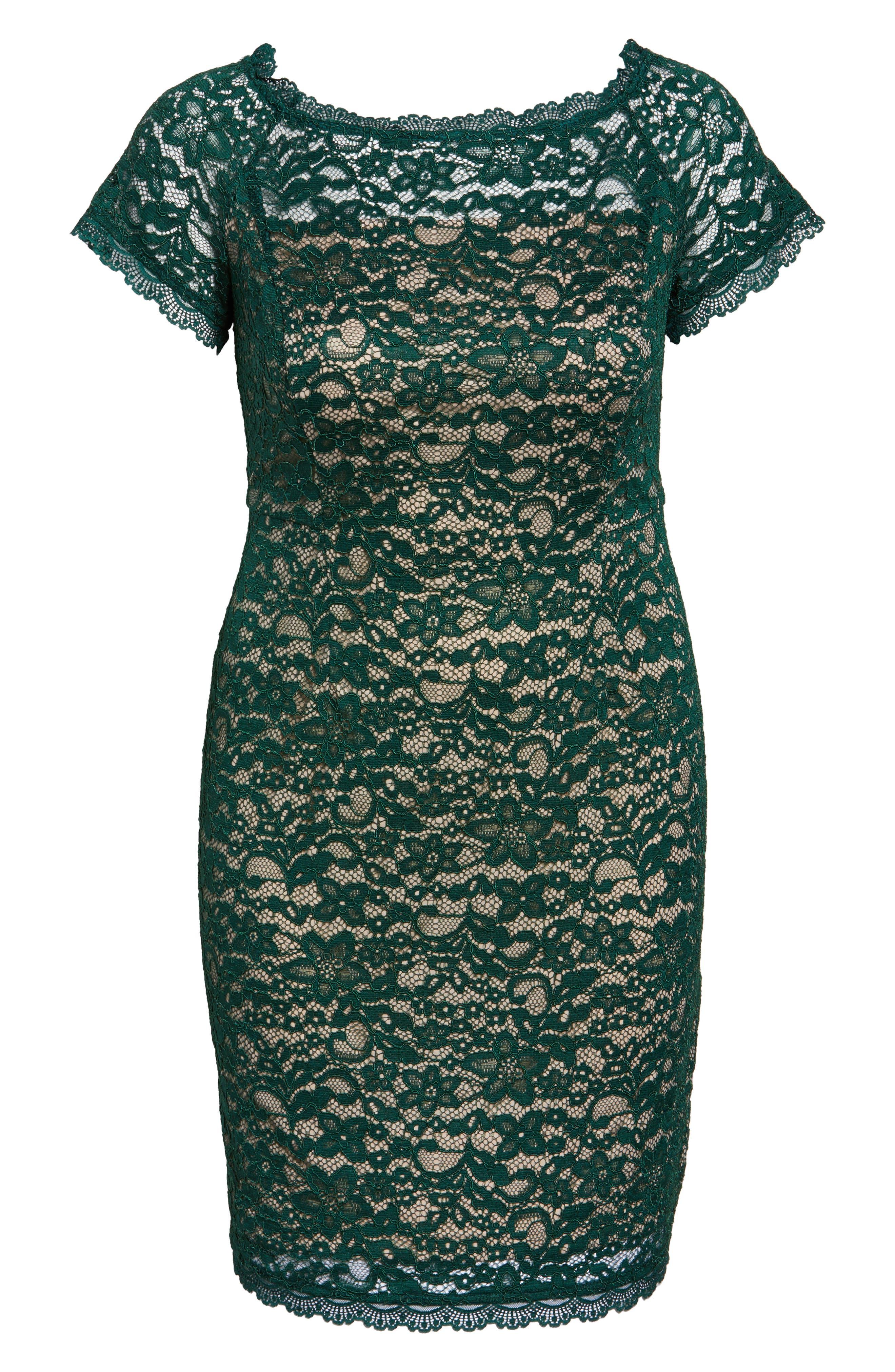Off the Shoulder Lace Sheath Dress,                             Alternate thumbnail 6, color,                             303