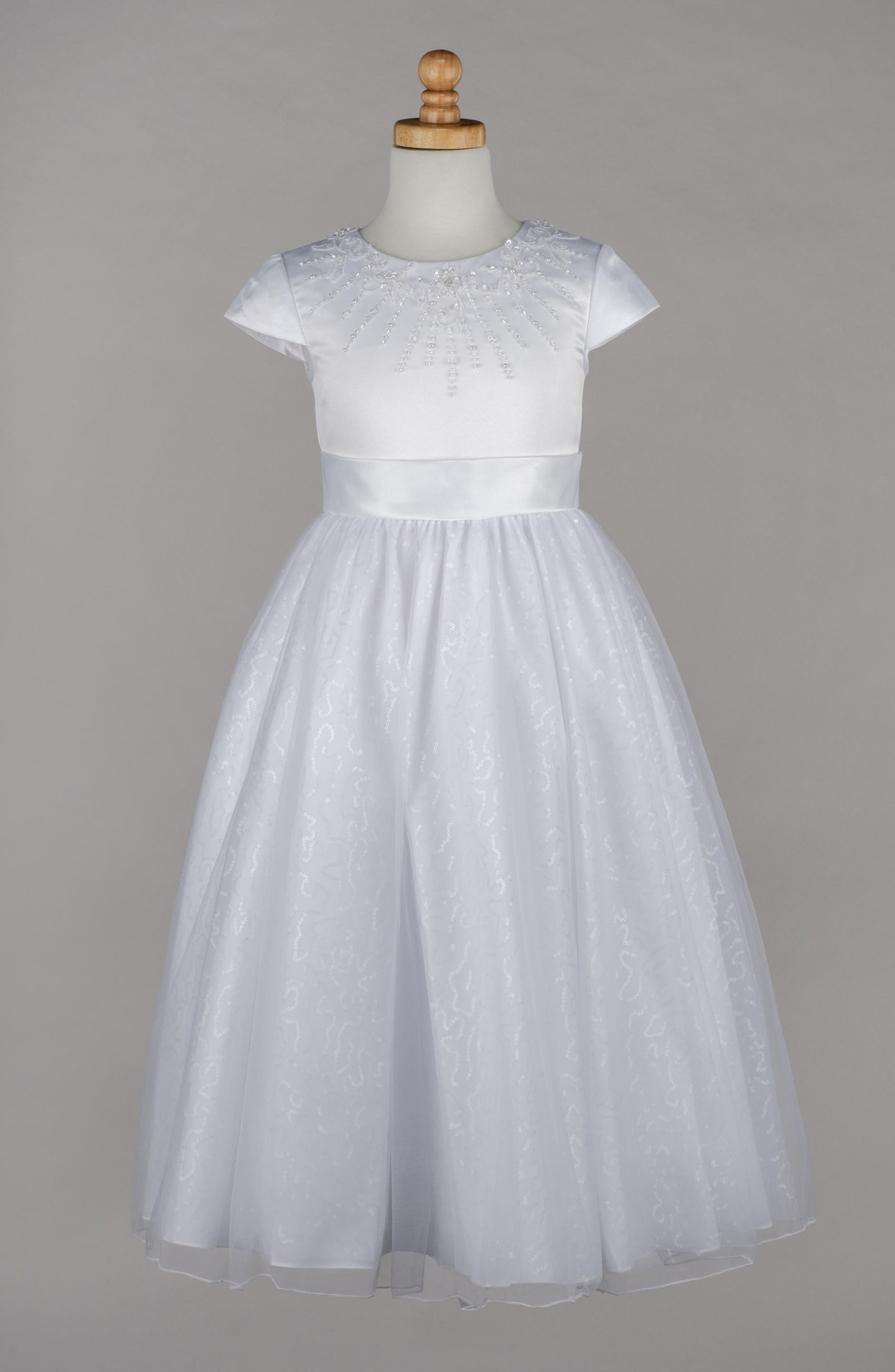 Beaded First Communion Dress,                             Alternate thumbnail 4, color,