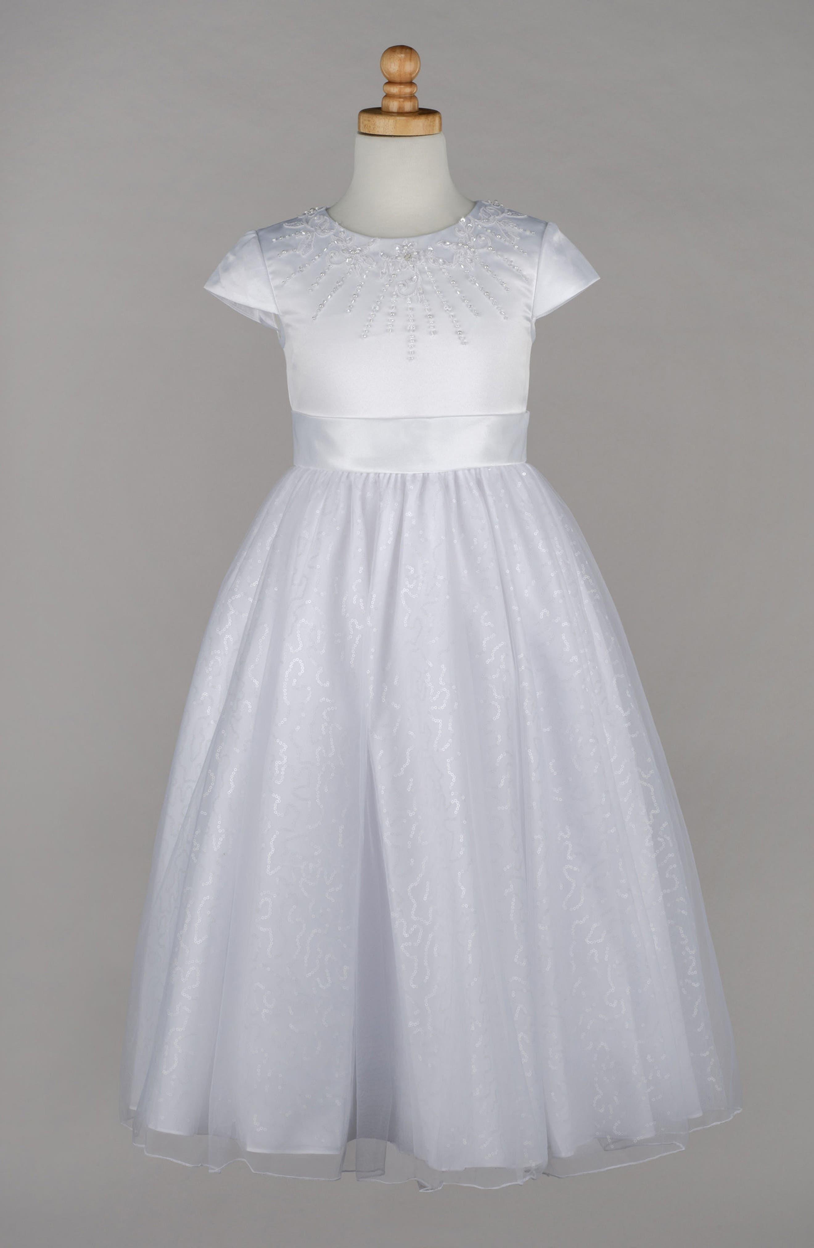 Beaded First Communion Dress,                             Alternate thumbnail 4, color,                             100