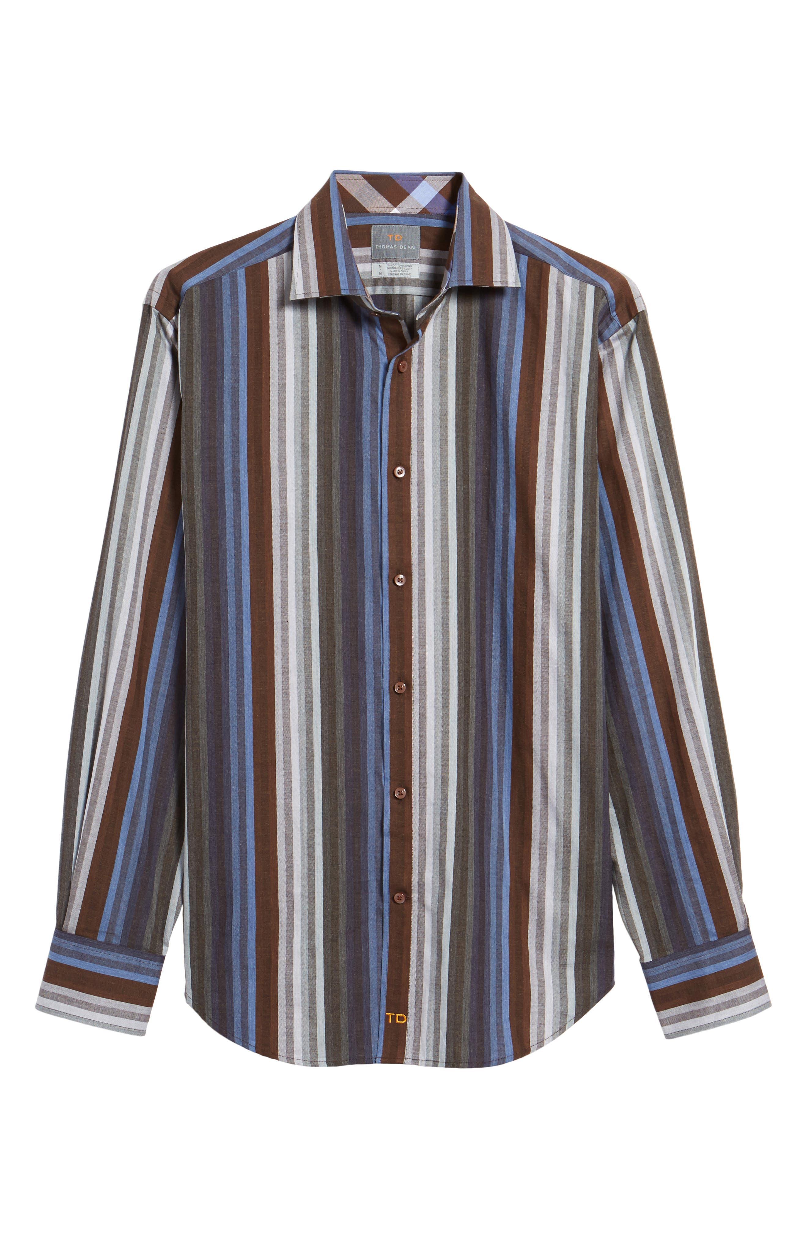 Regular Fit Multicolor Stripe Herringbone Sport Shirt,                             Alternate thumbnail 6, color,                             200