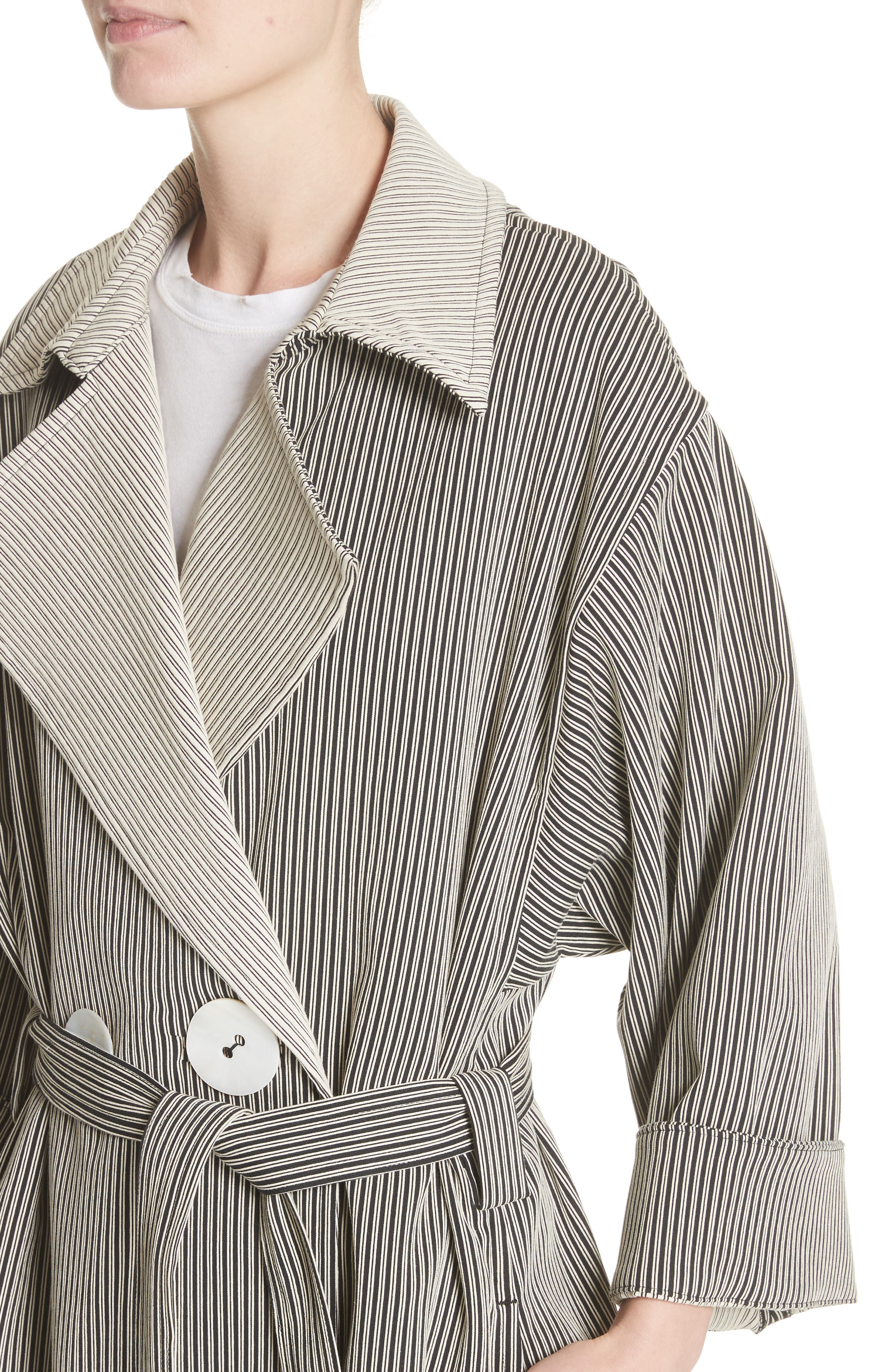 Casco Stretch Pinstripe Trench Coat,                             Alternate thumbnail 4, color,