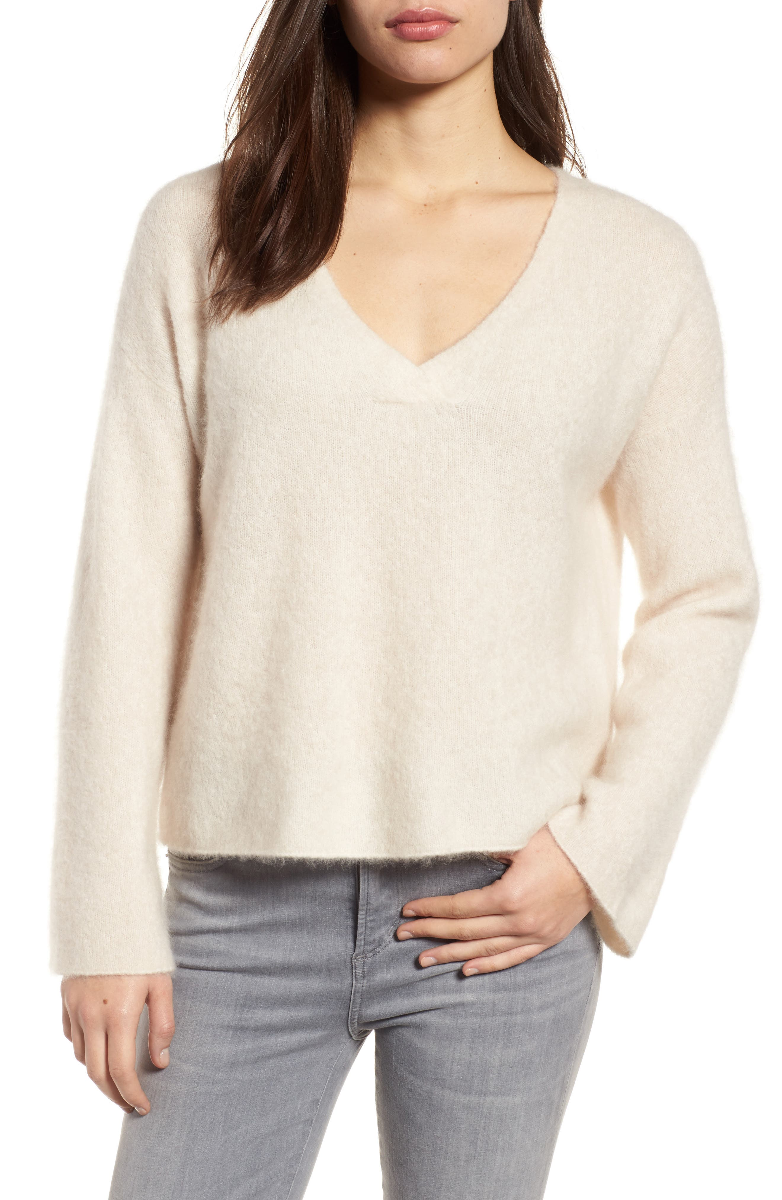 Boxy Cashmere Blend Sweater,                         Main,                         color, 103