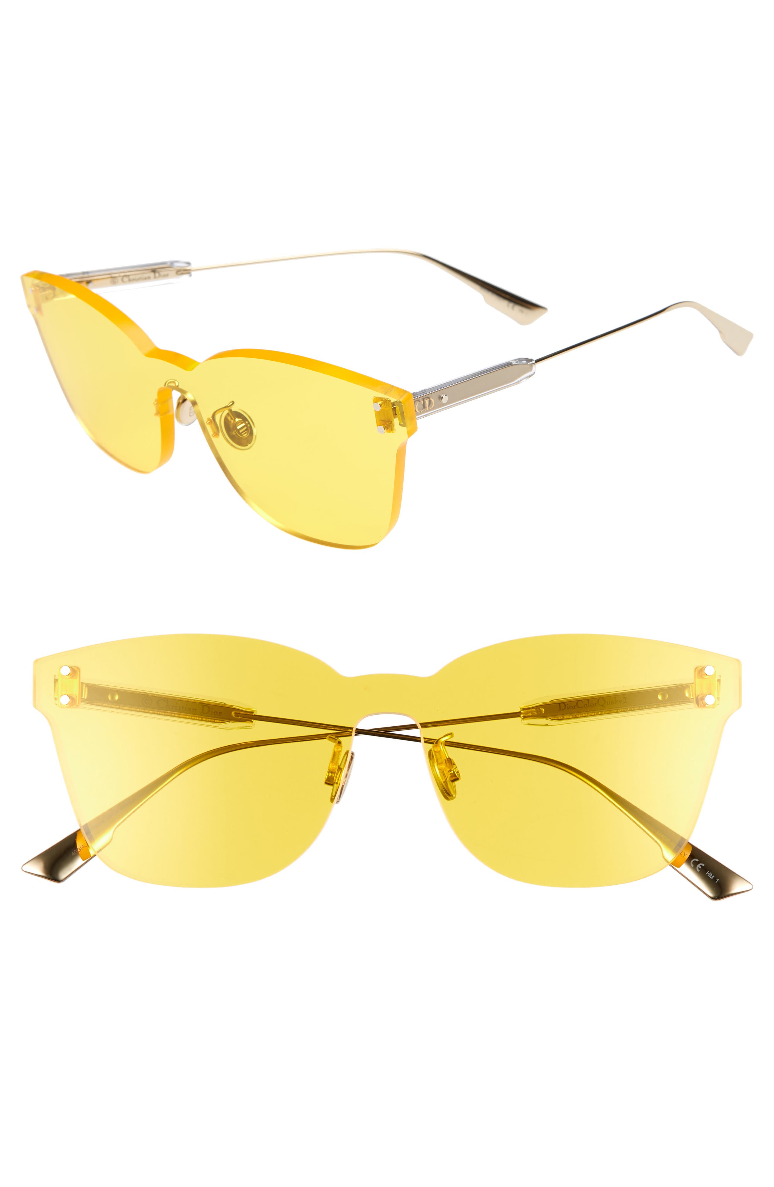 Christian Dior Quake2 135Mm Rimless Shield Sunglasses - Yellow