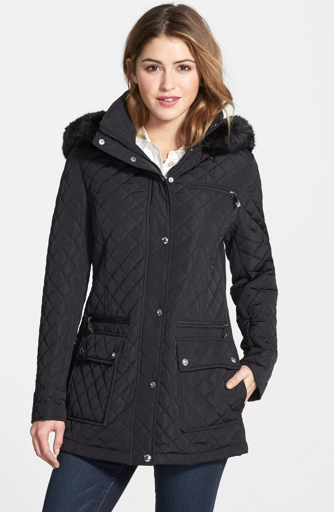Quilted Coat with Detachable Faux Fur Trim Hood, Main, color, 001
