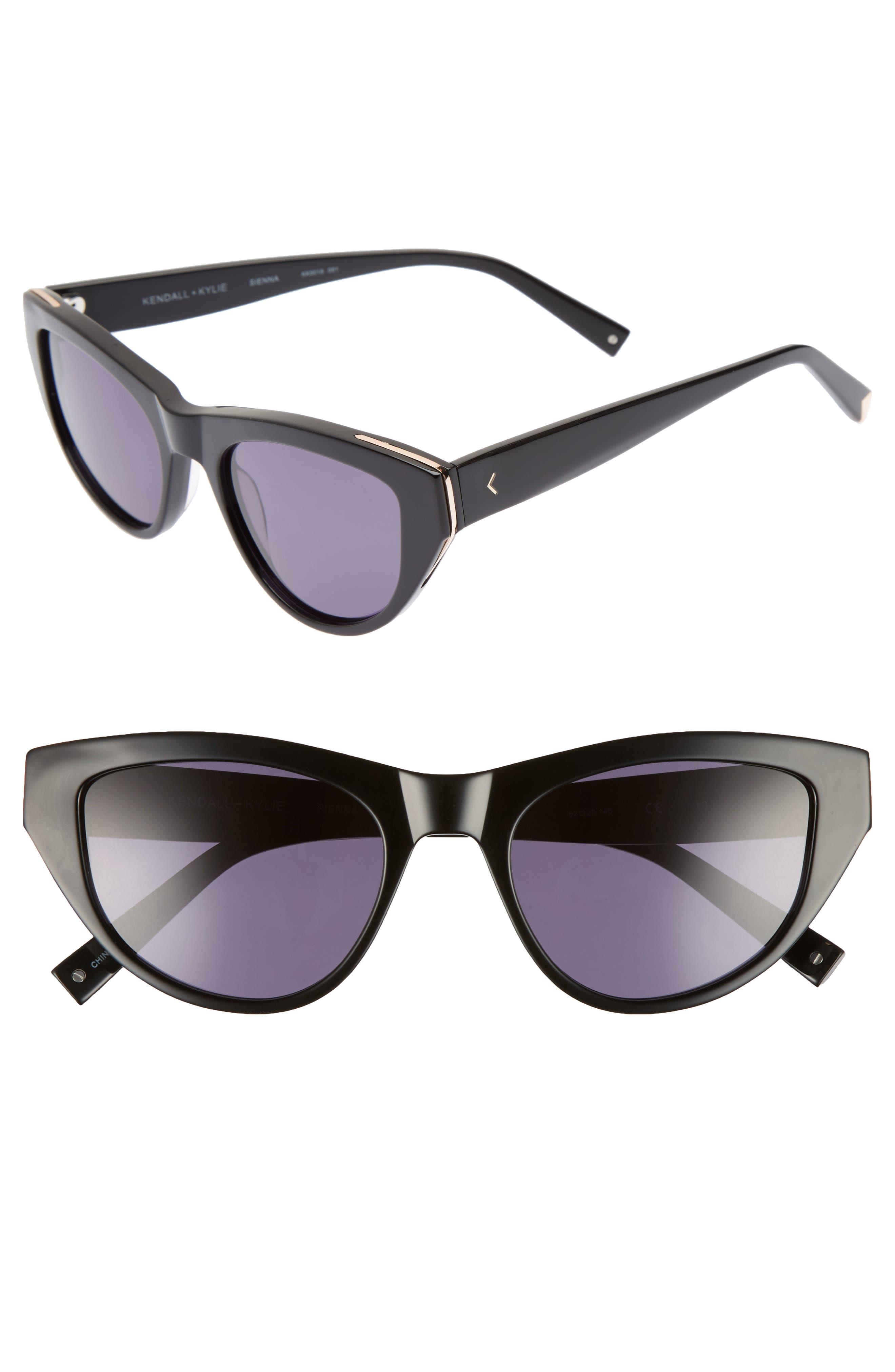 Sienna 52mm Retro Cat Eye Sunglasses,                         Main,                         color, BLACK/ ROSE GOLD
